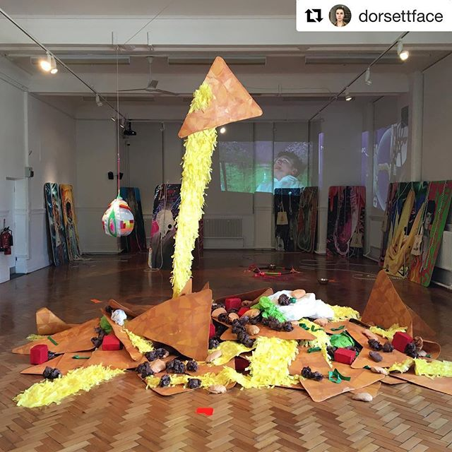 Floor Nachos now at @bury_art_museum in England as part of the group exhibition #Shonky!  #Repost @dorsettface ・・・ 'Shonky' Exhibition @bury_art_museum is DEAD GOOD. Go see go see. This piece is called 'Floor Nachos' and it's by Justin Favela. Part of Hayward Touring, curated by @john___walter @favyfav @haywardtouring Kate Lepper and Plastique Fantastique in the background. #floornachos #justinfavela