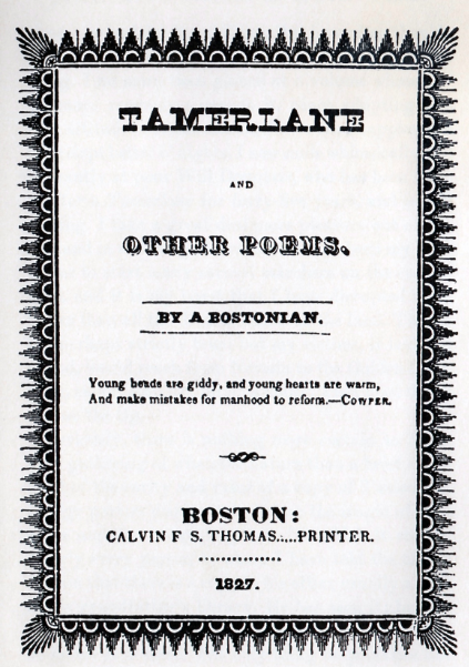 Front cover of  Tamerlane and Other Poems , 1827, from page 18 of Starrett's  Penny Wise & Book Foolish.