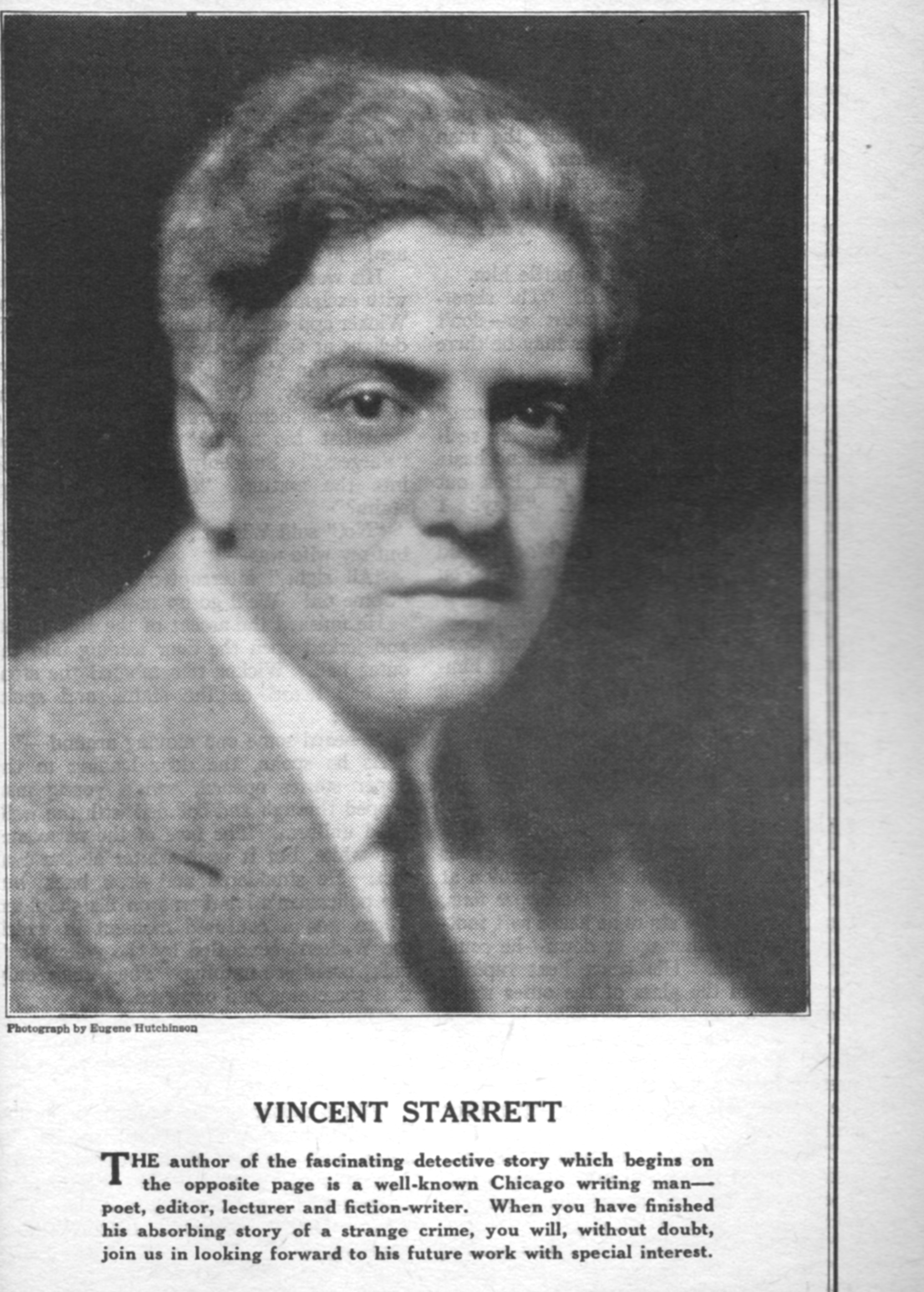 """From the January 1926 issue of The Blue Book Magazine, a pulp that ran Starrett's short story """"The Zulu Assegai."""" The photo was taken by Eugene Hutchinson, who also shot the profile image of Starrett that was used for Oppenheim's clothing catalog and is shown on this page. The image quality is not great, but the pulp is printed on very poor paper."""