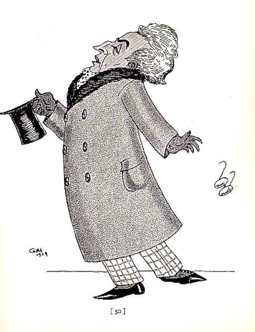 """A 1924 sketch by Gene Markey published in  Men About Town: A Book of 58 Caricatures.  The sketch carries the accompanying subtitle: """"Mr. Vincent Starrett, after witnessing a performance of """"The Fool,"""" throws away his spectacles."""""""