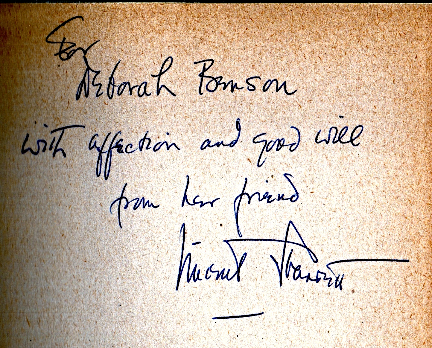 """""""For Deborah Benson/With affection and good will/from her friend/Vincent Starrett"""""""