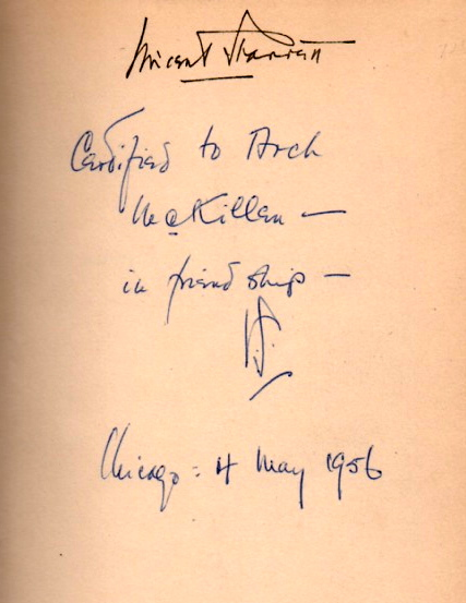 An inscription from a copy of Autolycus in Limbo, 1943.