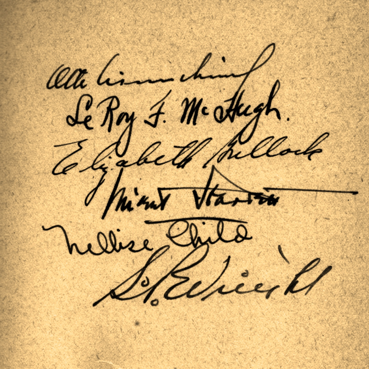 A series of signatures from a volume of  Chicago Murders .