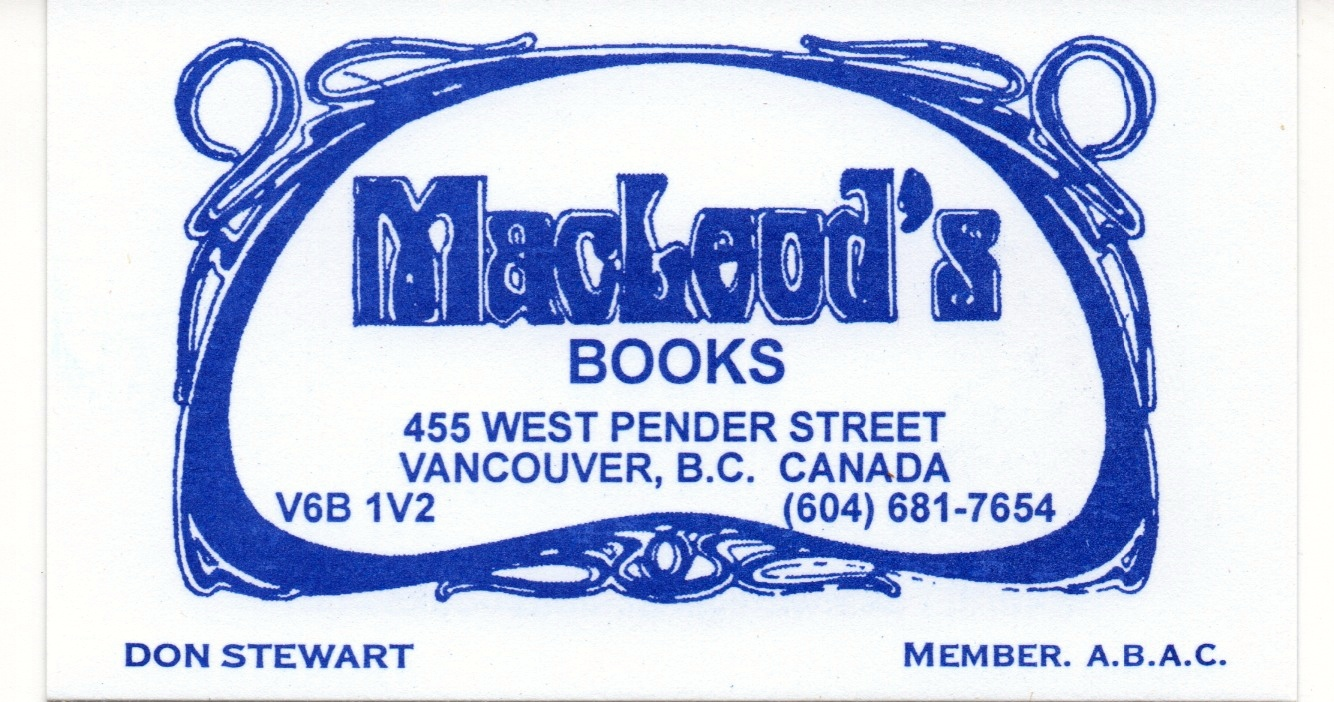 The card for MacLeaod's Books in Vancouver. Should you ever find yourself in that delightful city, you should visit Mr. Stewart.