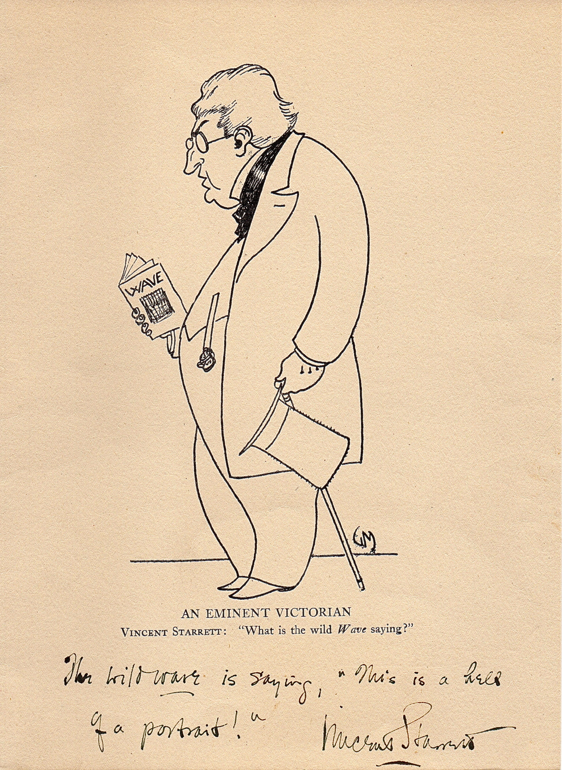 Starrett loved being editor of The Wave. Here is a rare copy of Gene Markey's illustration of Starrett holding a copy of the magazine, with a note by Starrett.
