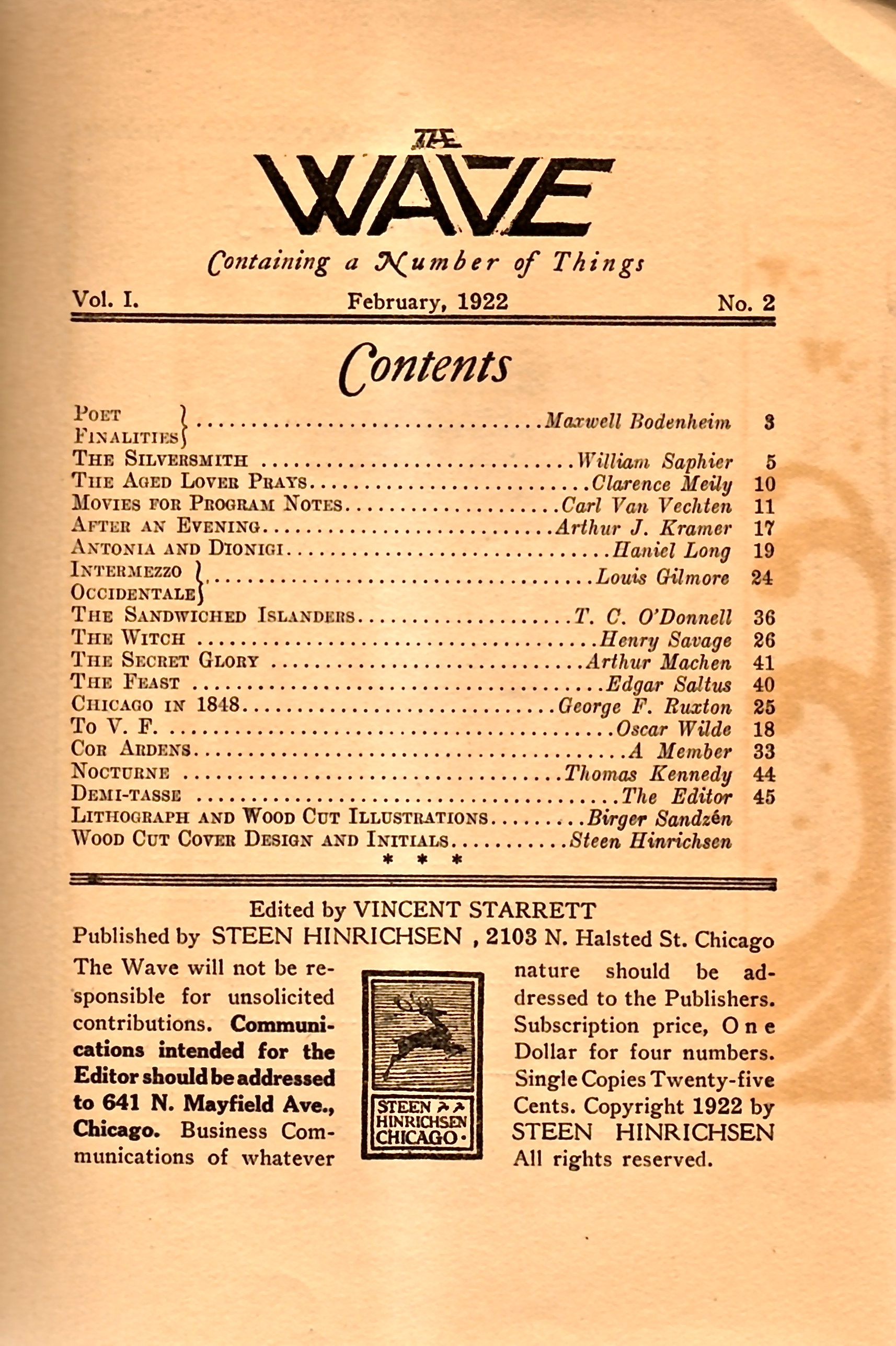 The Contents page for the February 1922 number of  The Wave .