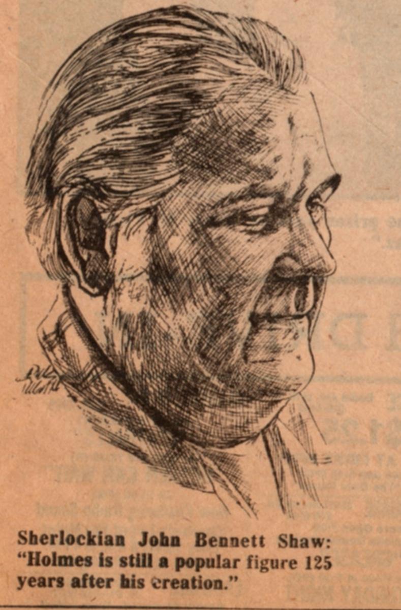 A sketch of John Bennett Shaw from The Cleveland Plain Dealer, July 13, 1979.