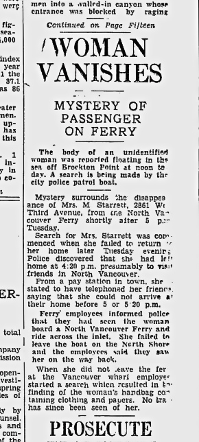 An article about Margaret Starrett's disappearance from the Vancouver Sun for Oct. 4, 1933.