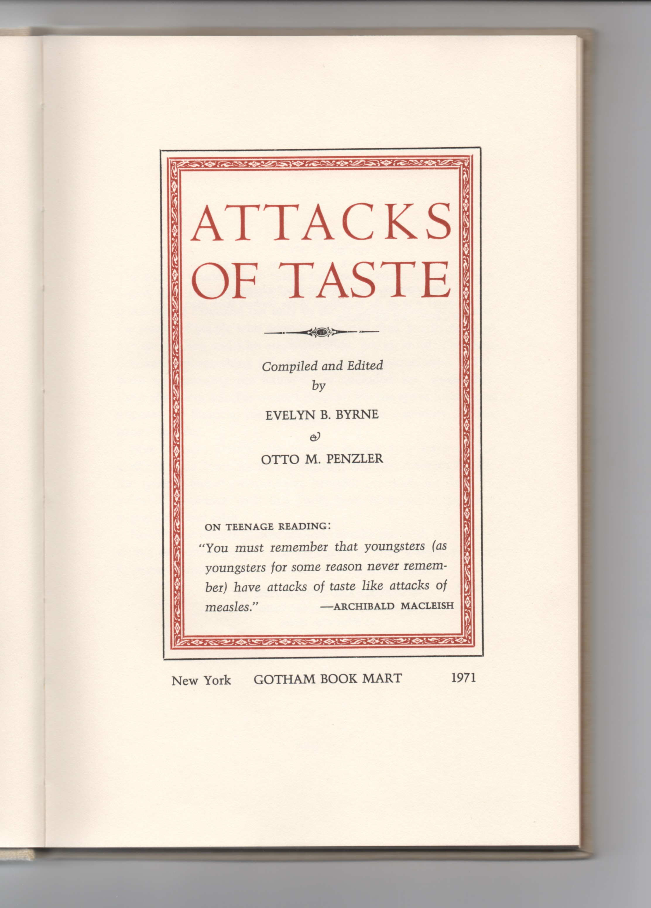 Title page to  Attacks of Taste