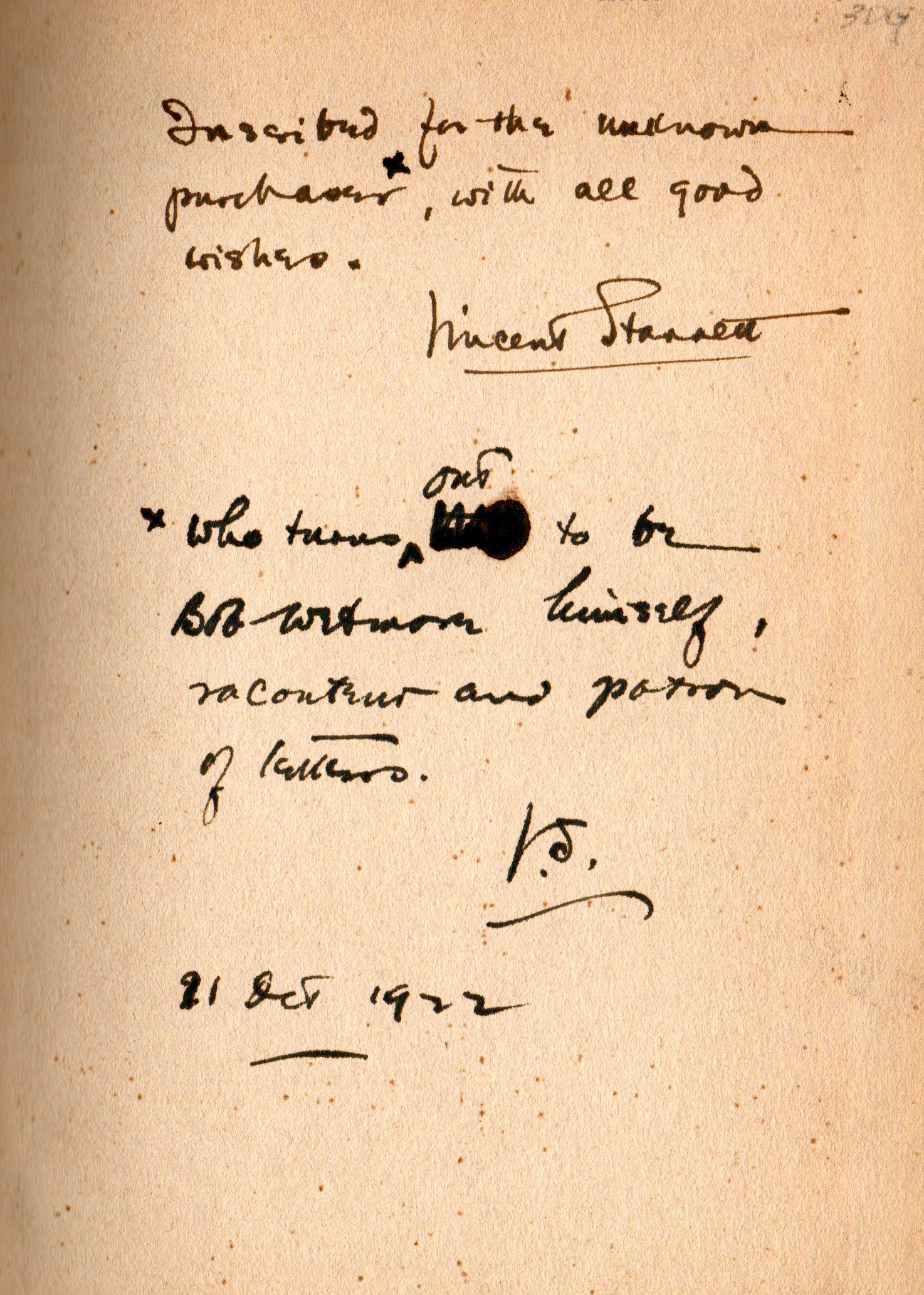 My copy of  Ambrose Bierce  has a double inscription AND a  Starrett Smiley.