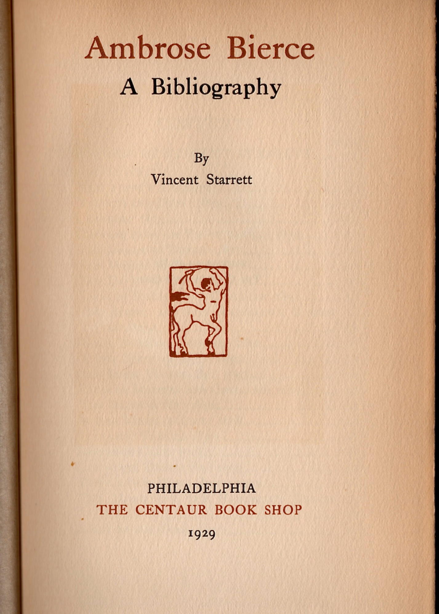 The title page. Look closely, and you can see the shadow of the Bierce portrait that is on the opposite page and reprinted above.