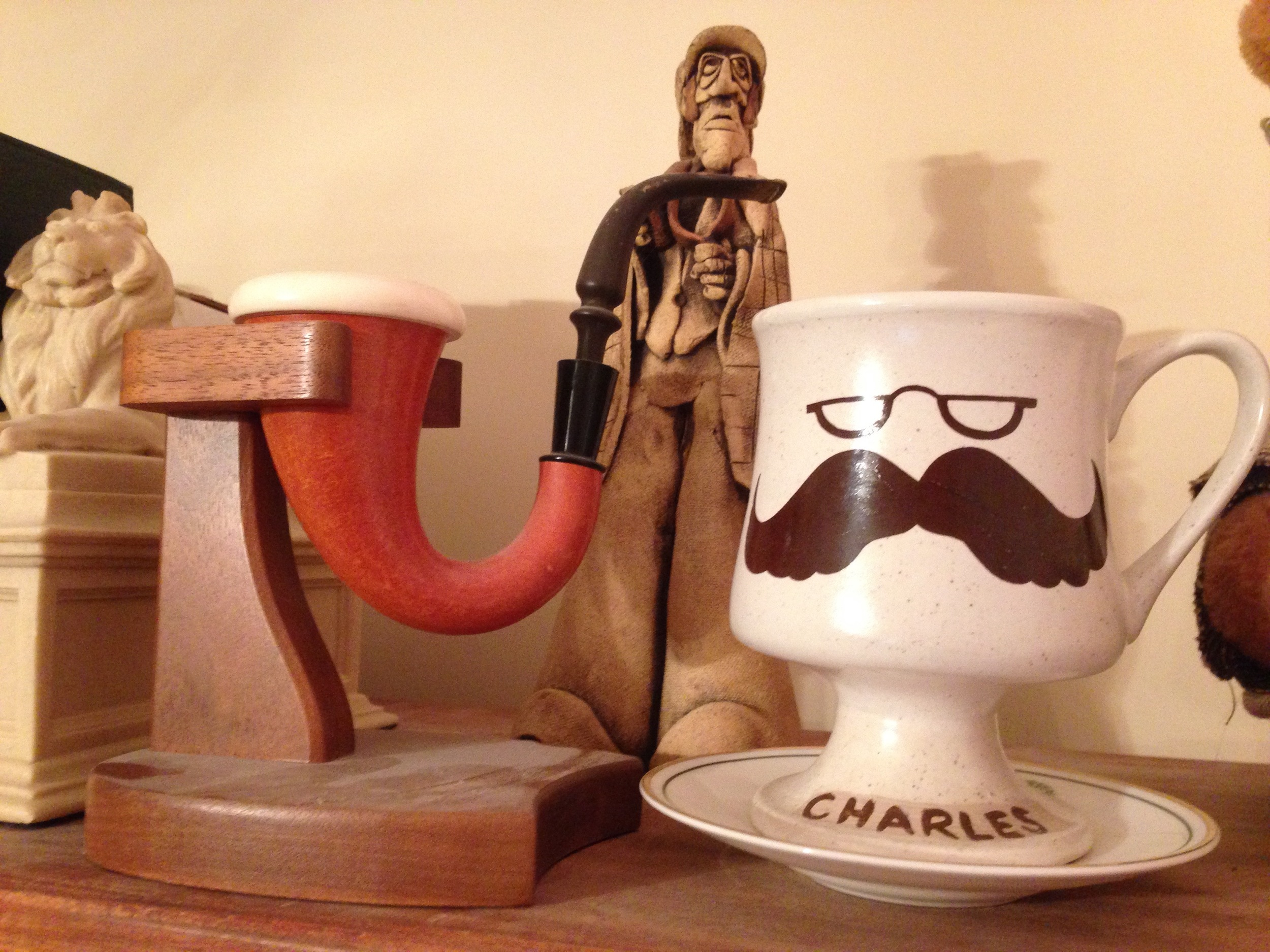 Some of the Holmes items Chuck and Peggy gave me over the years. The saucer under the moustache cup is from Simpsons in the Strand. (Chuck had sticky fingers.)
