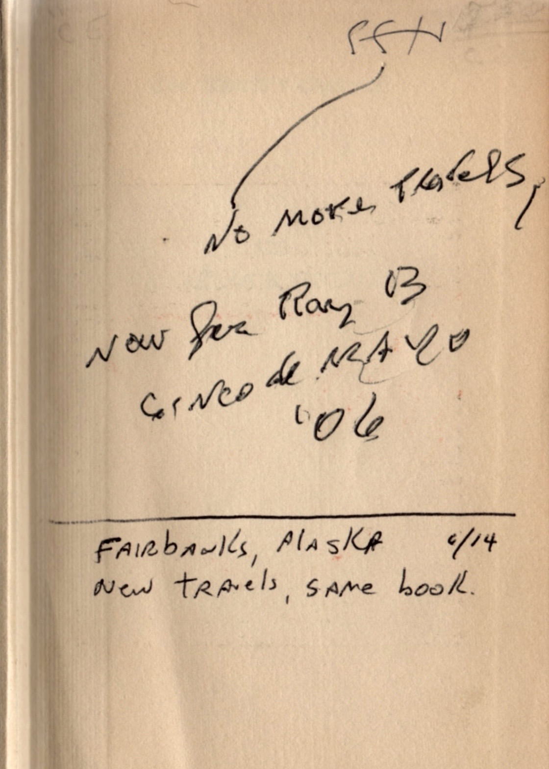 The inscription from the FEP of Chuck's  Sherlock Holmes Selected Stories .
