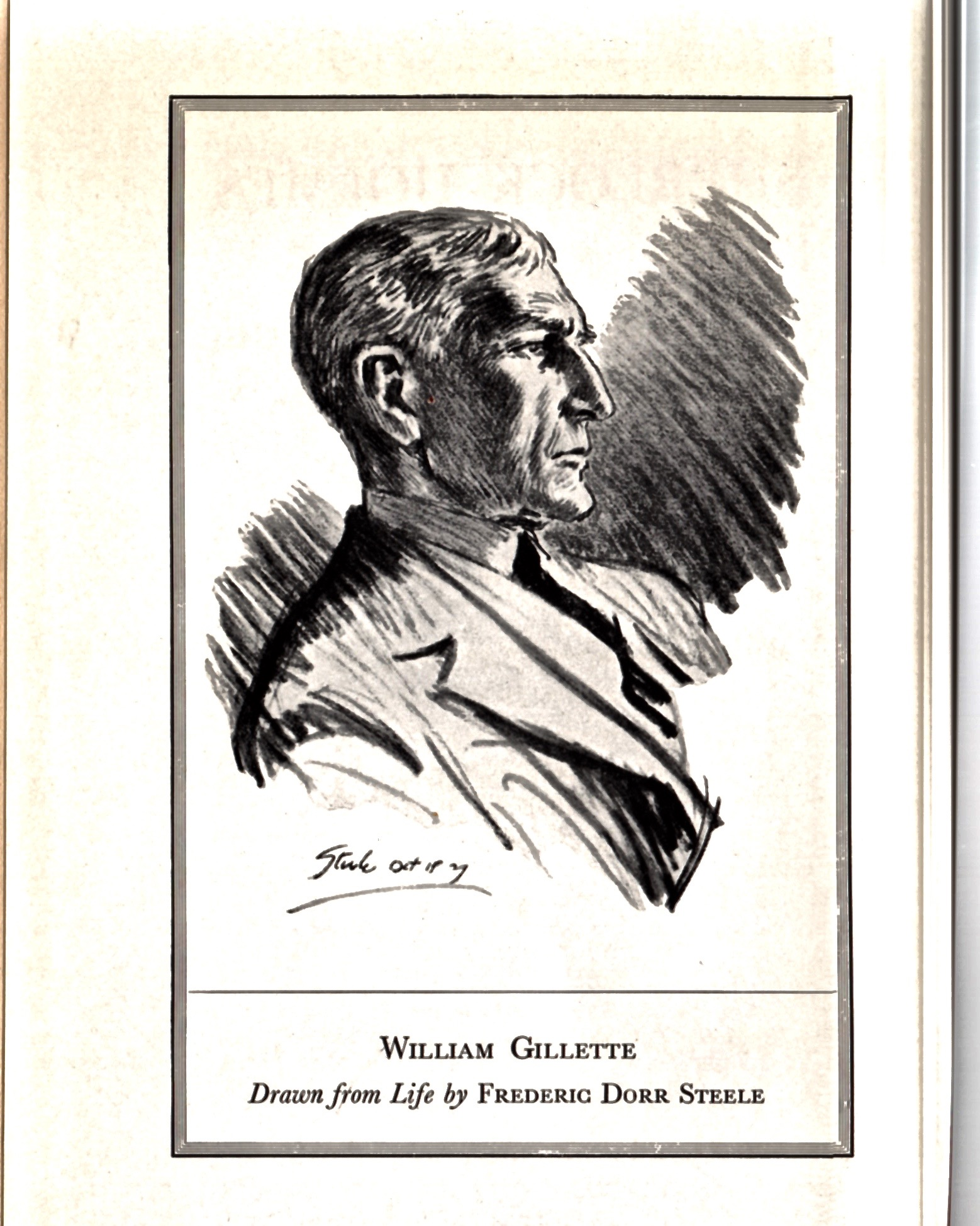 The frontispiece of the 1935 edition of Sherlock Holmes: A Play features a sketch of Gillette by Steele. It's as handsome an illustration of the great actor as was ever done.