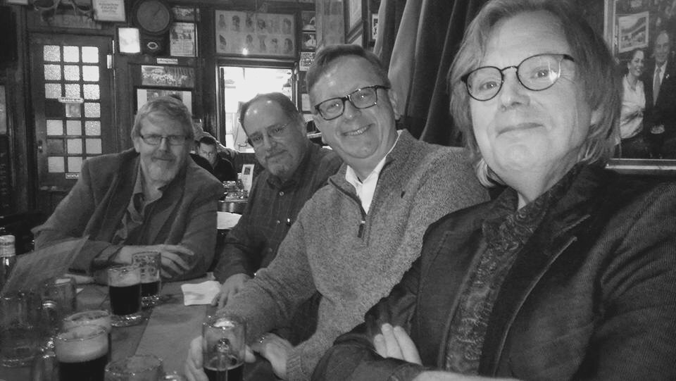 Bert Coules, Mark Gagen, Your Correspondent, and Steve Doyle enjoying a few glasses of the dark stuff (or in Bert's case orange juice) at McSorley's Old Ale House. Photo courtesy of Jacquelynn Bost Morris.