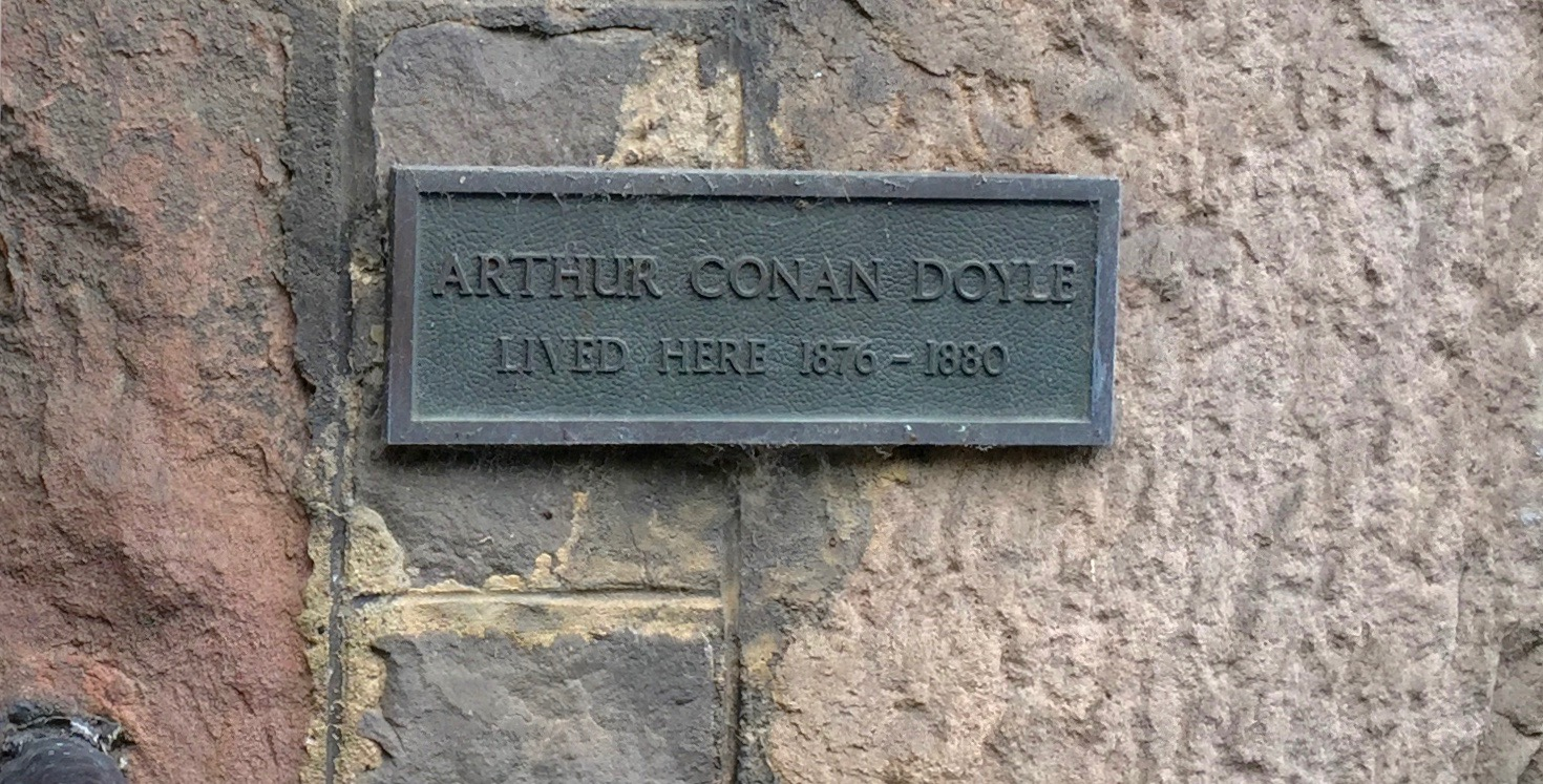 A marker on the apartment that was once home to Arthur Conan Doyle while he was a student at the University of Edinburgh.