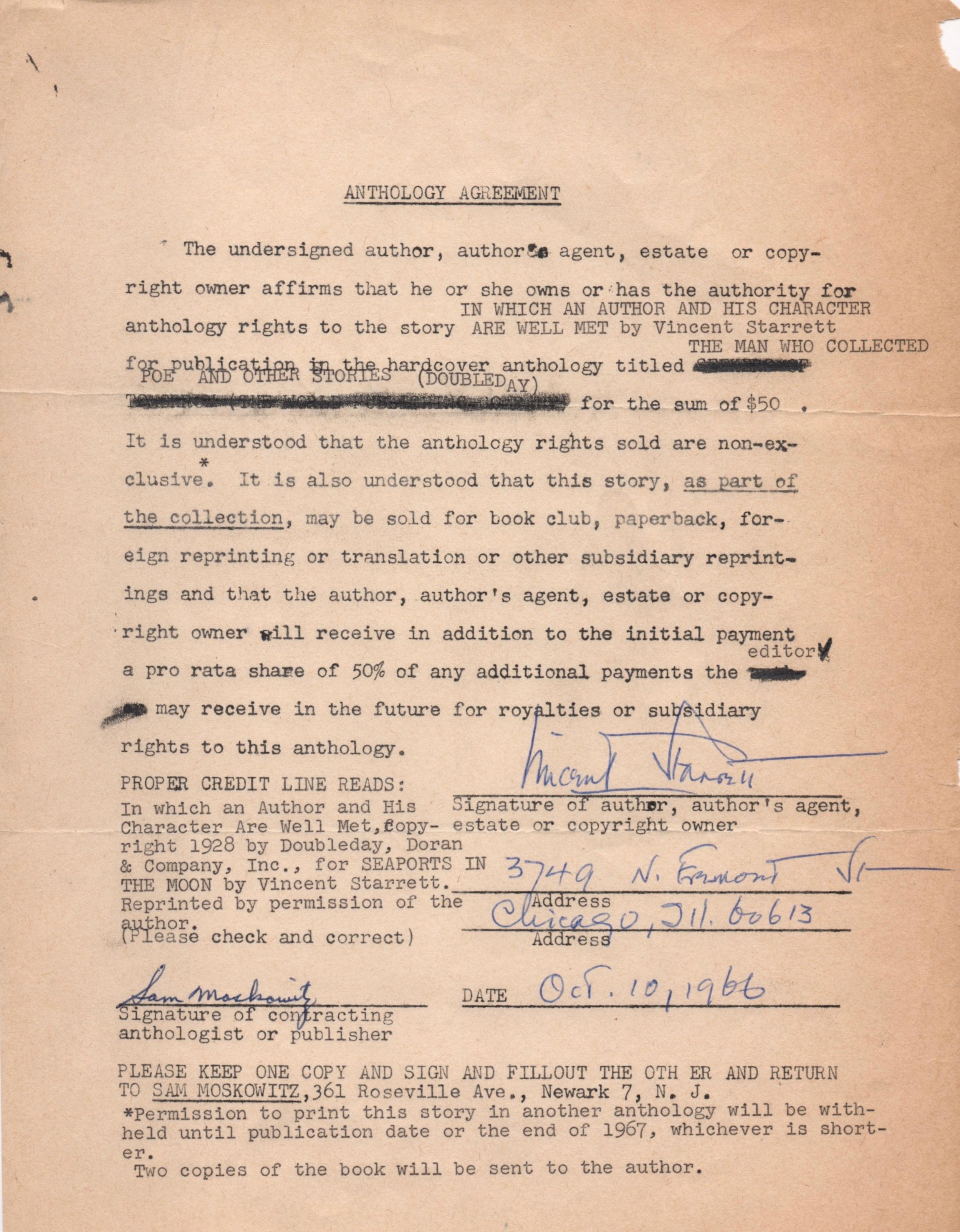 The contract between Moskowitz and Starrett.
