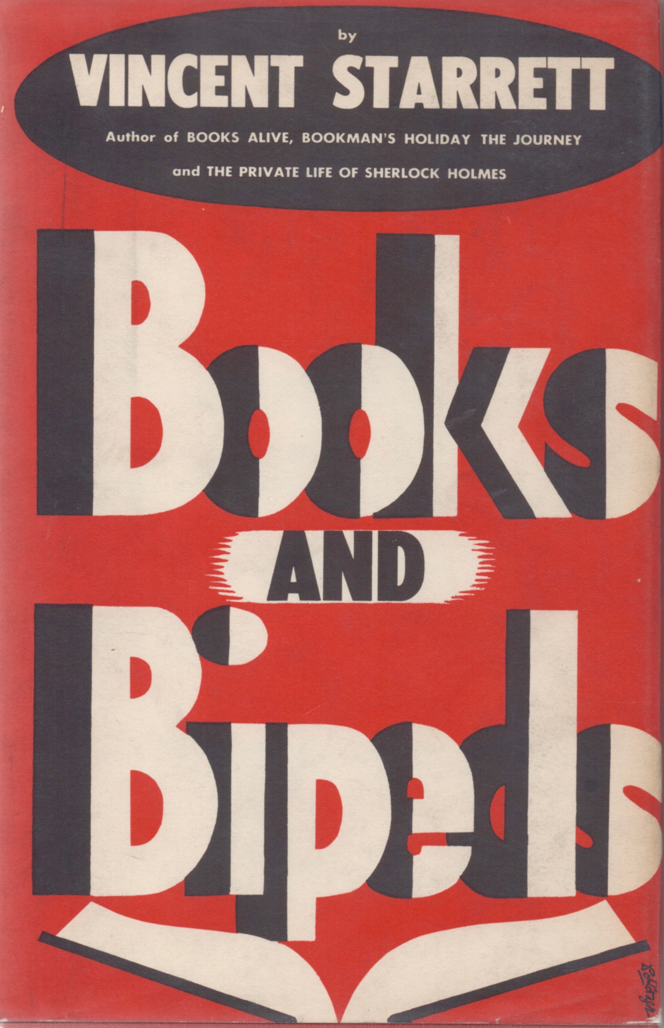 The dust jacket to  Books and Bipeds