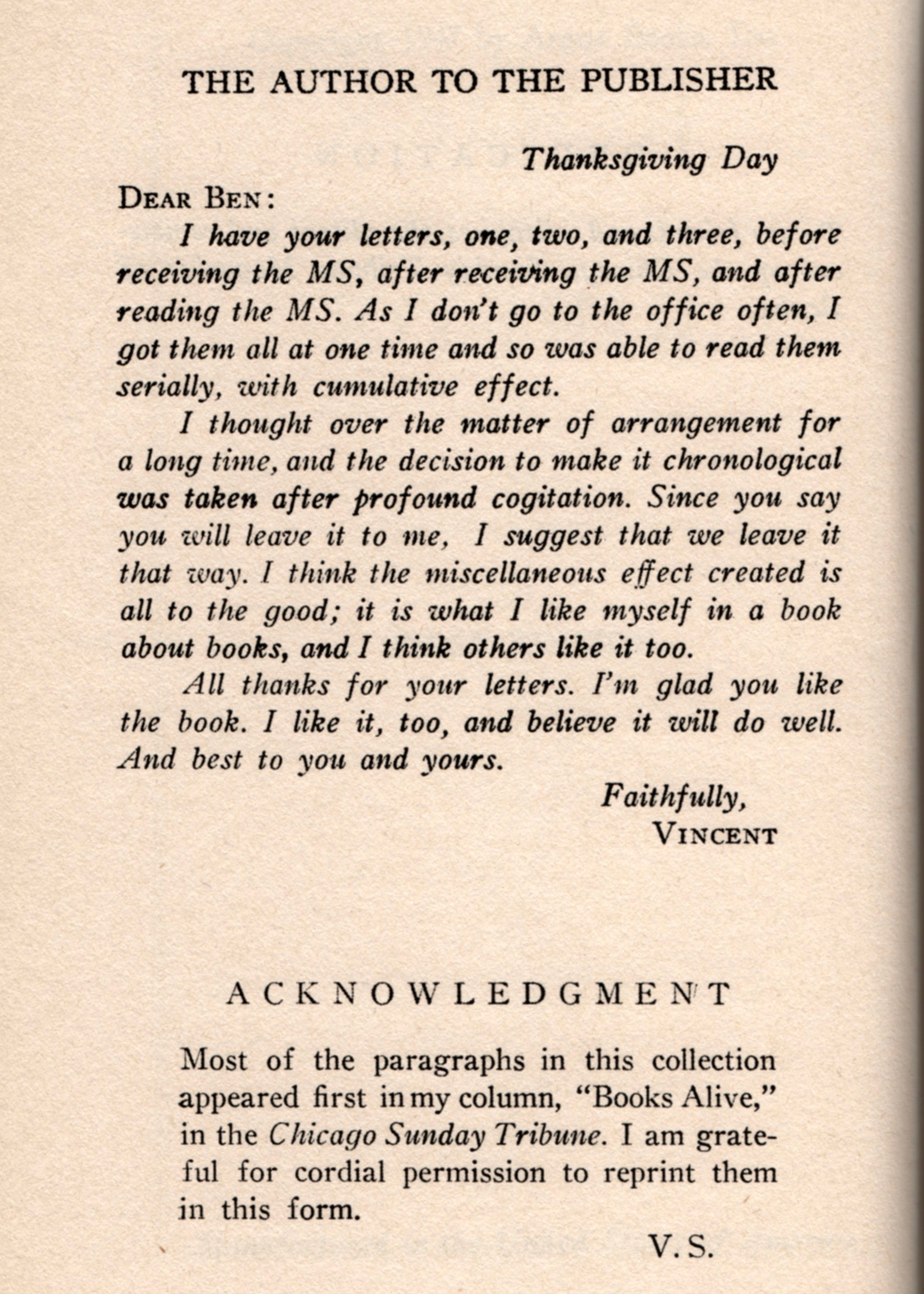 The letter from the author to the publisher.