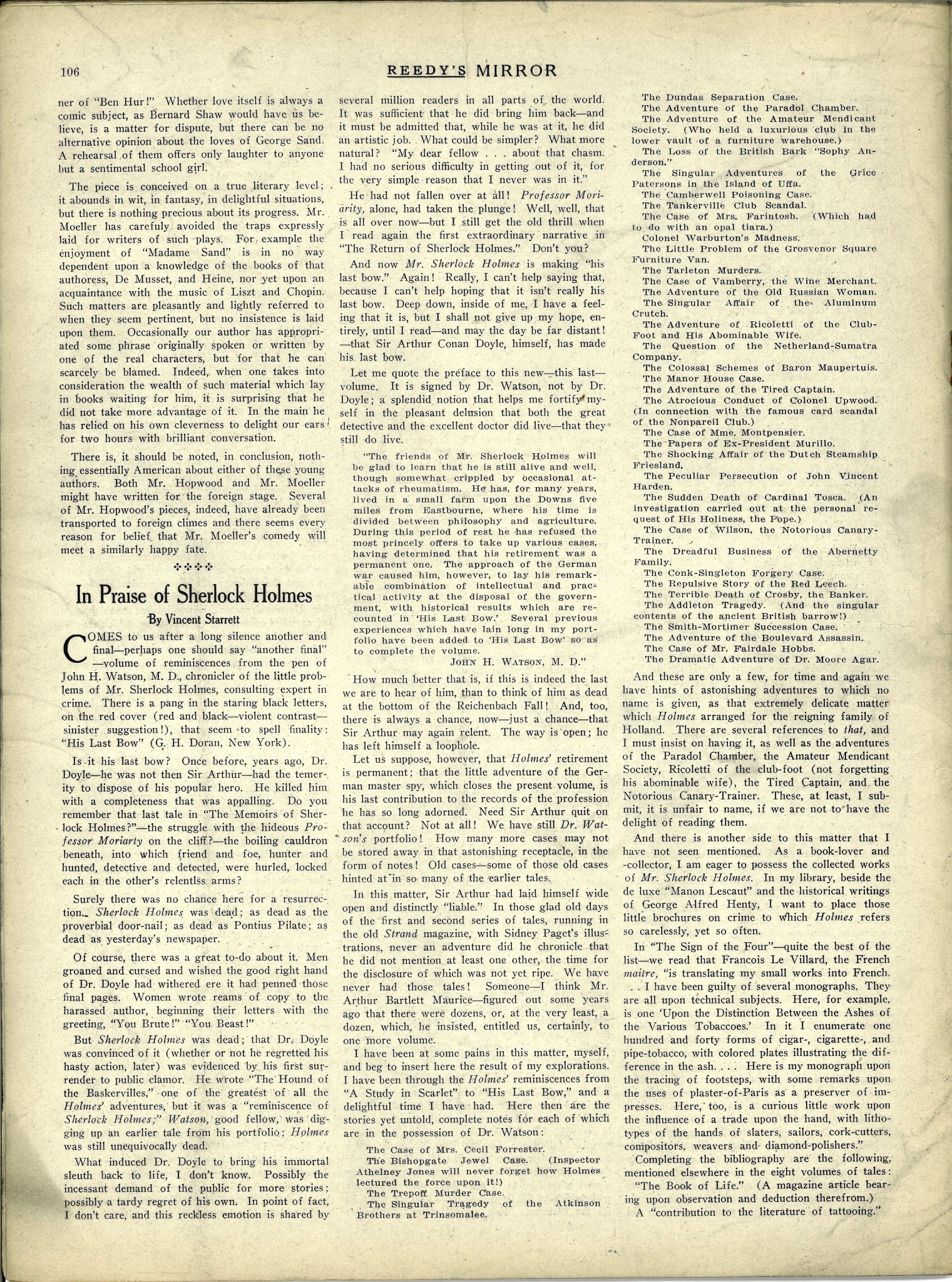 The first of two pages with Starrett's article on Holmes. It includes his list of all of the tales Watson alluded to, but had yet to write.