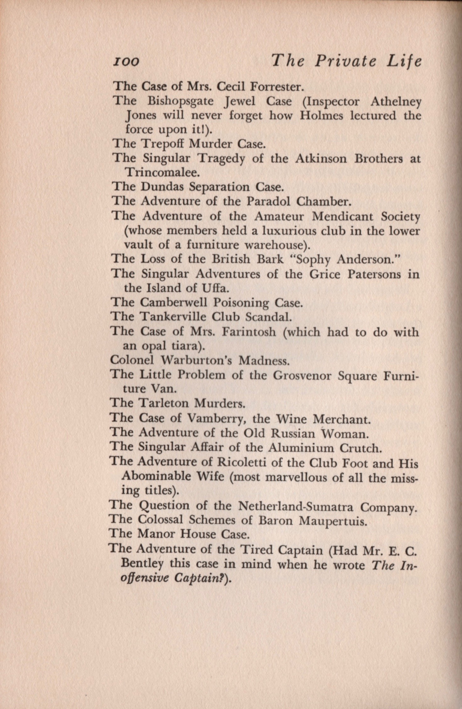 Page 100 of the 1933 edition of  The Private Life of Sherlock Holmes .