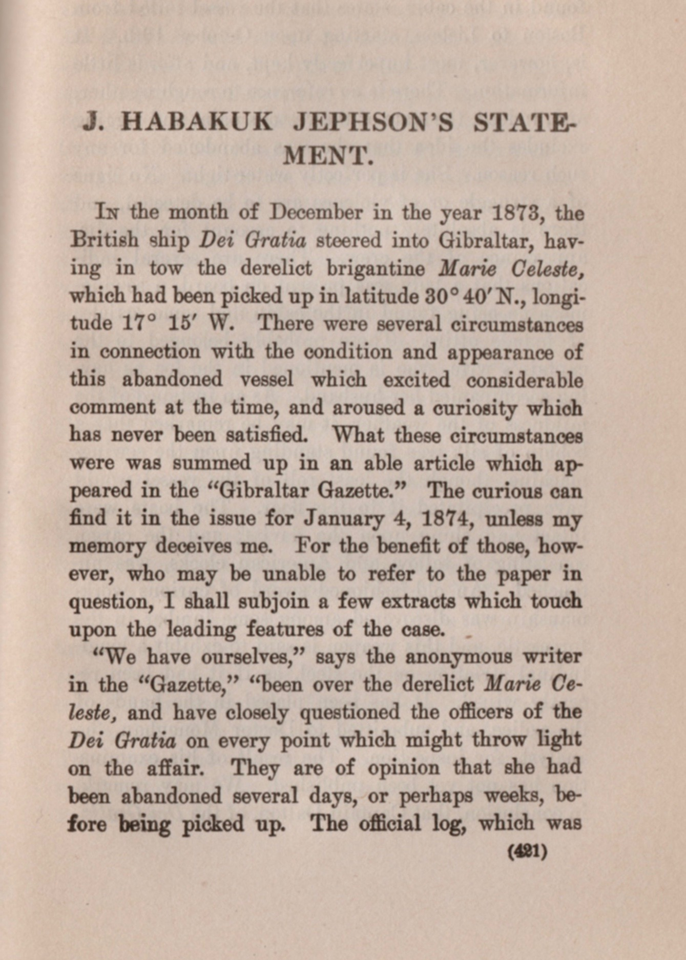 A later reprint of Conan Doyle's fictionalized account of the Mary Celeste mystery.