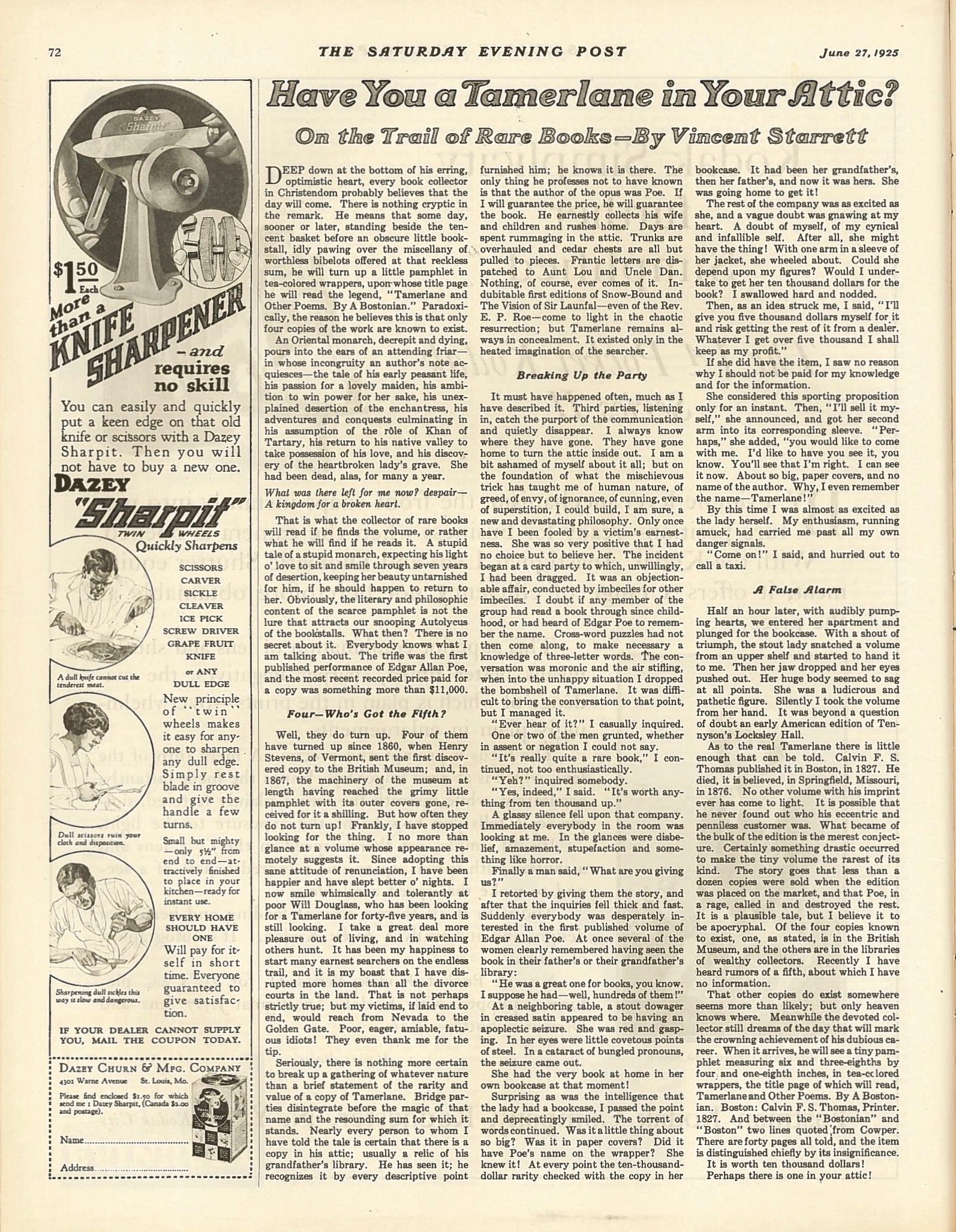 Starrett's article as it appeared in  The Saturday Evening Post . (By the way, that's a great deal on a knife sharpener.)