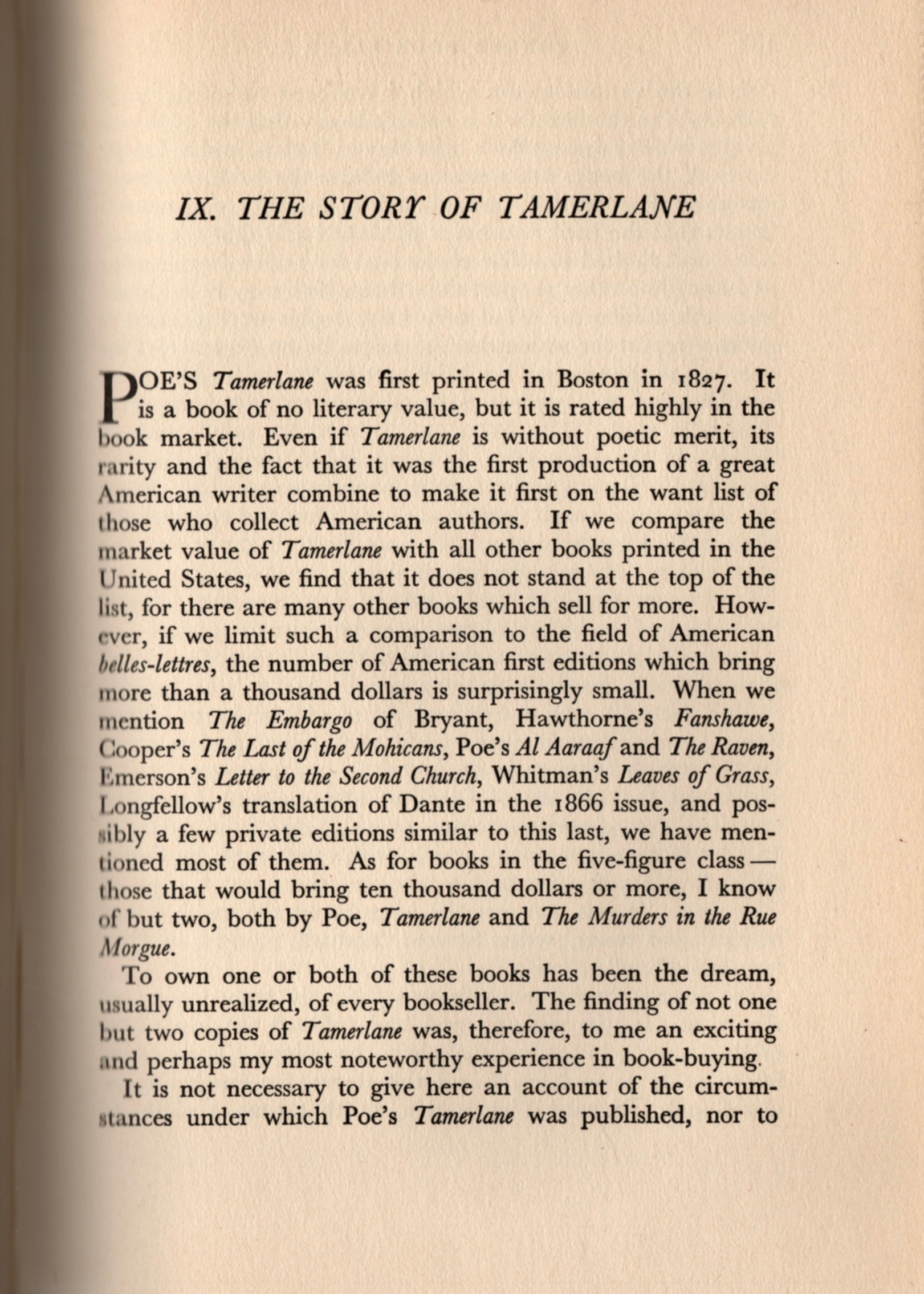 Goodspeed's chapter on finding a Tamerlane as a result of Starrett's article from his book, Yankee Bookseller.