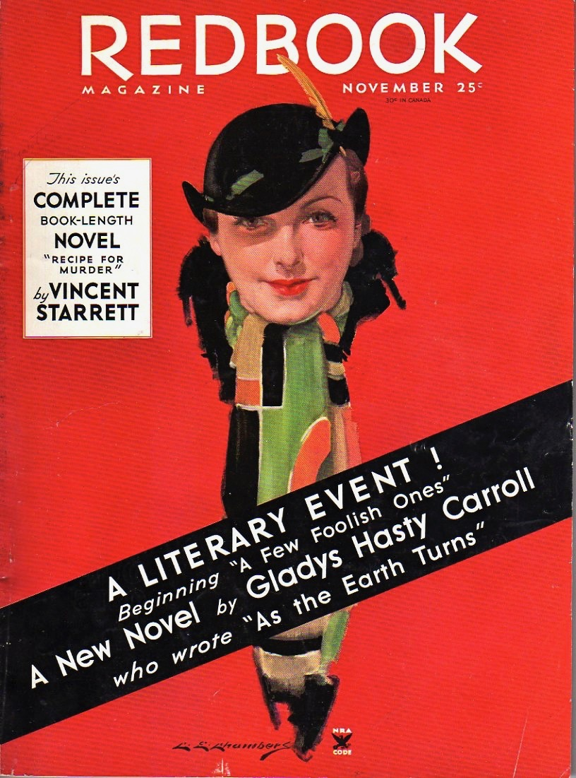 The cover of the November 1934 Redbook, featuring Starrett's story.