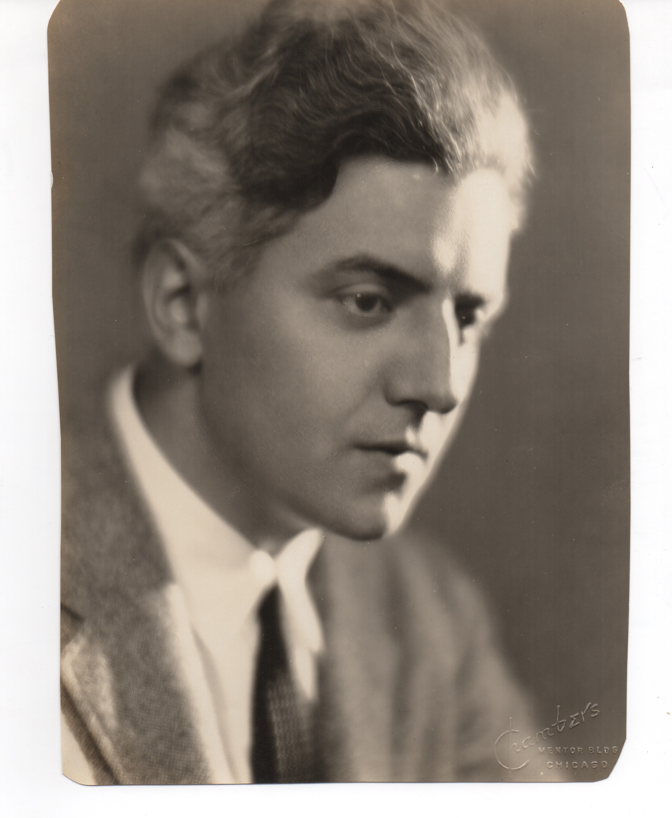 """A portrait of Starrett by Chambers Studio of Chicago from the early 1930s, when he wrote Recipe for Murder, later The Great Hotel Murder. Starrett would later jokingly call this his """"dying poet"""" photo."""
