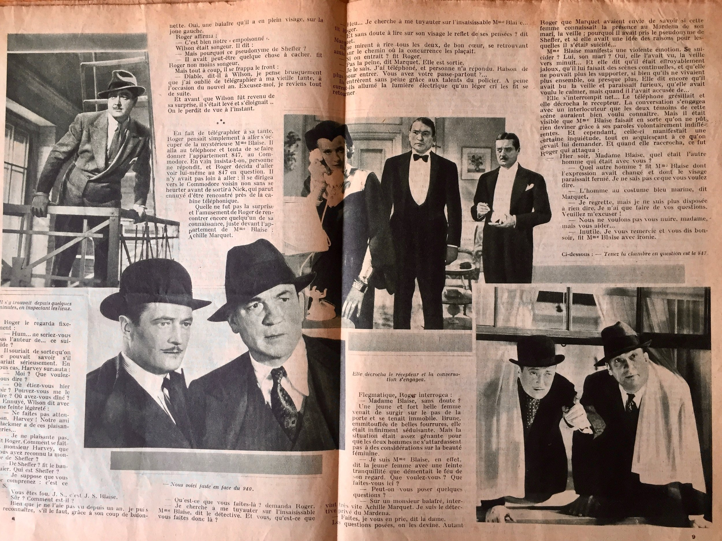 The illustrated center spread of the French film script.
