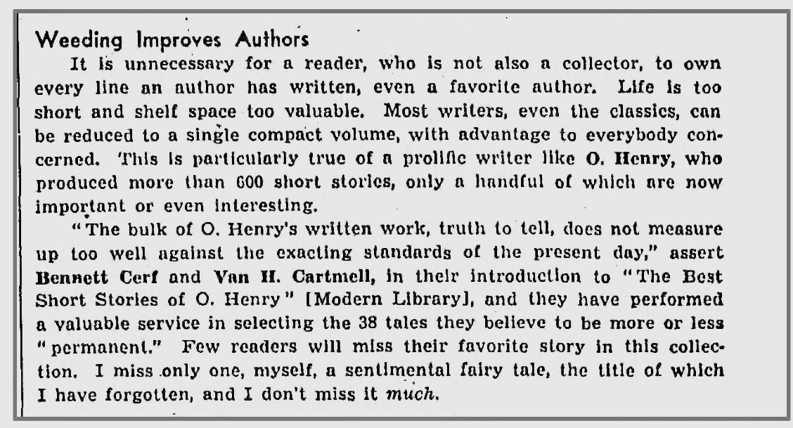 Starrett's commentary on Cerf and Cartmell's book,  The Best Short Stories of O.Henry .