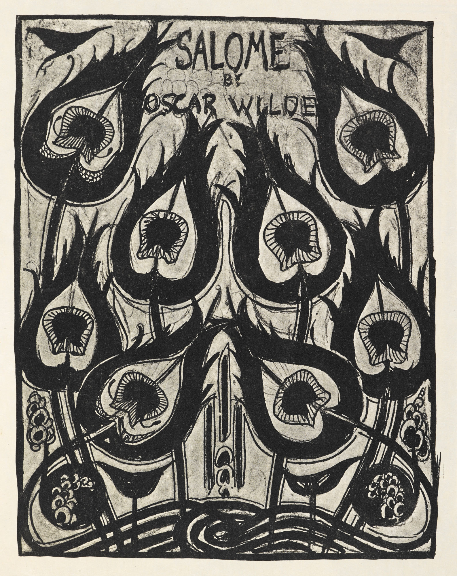 The least provocative illustration by Beardsley for Wilde's playscript. Beardsley's drawings were so audacious that Wilde worried his play would be remembered only as the type around Beardsley's work.