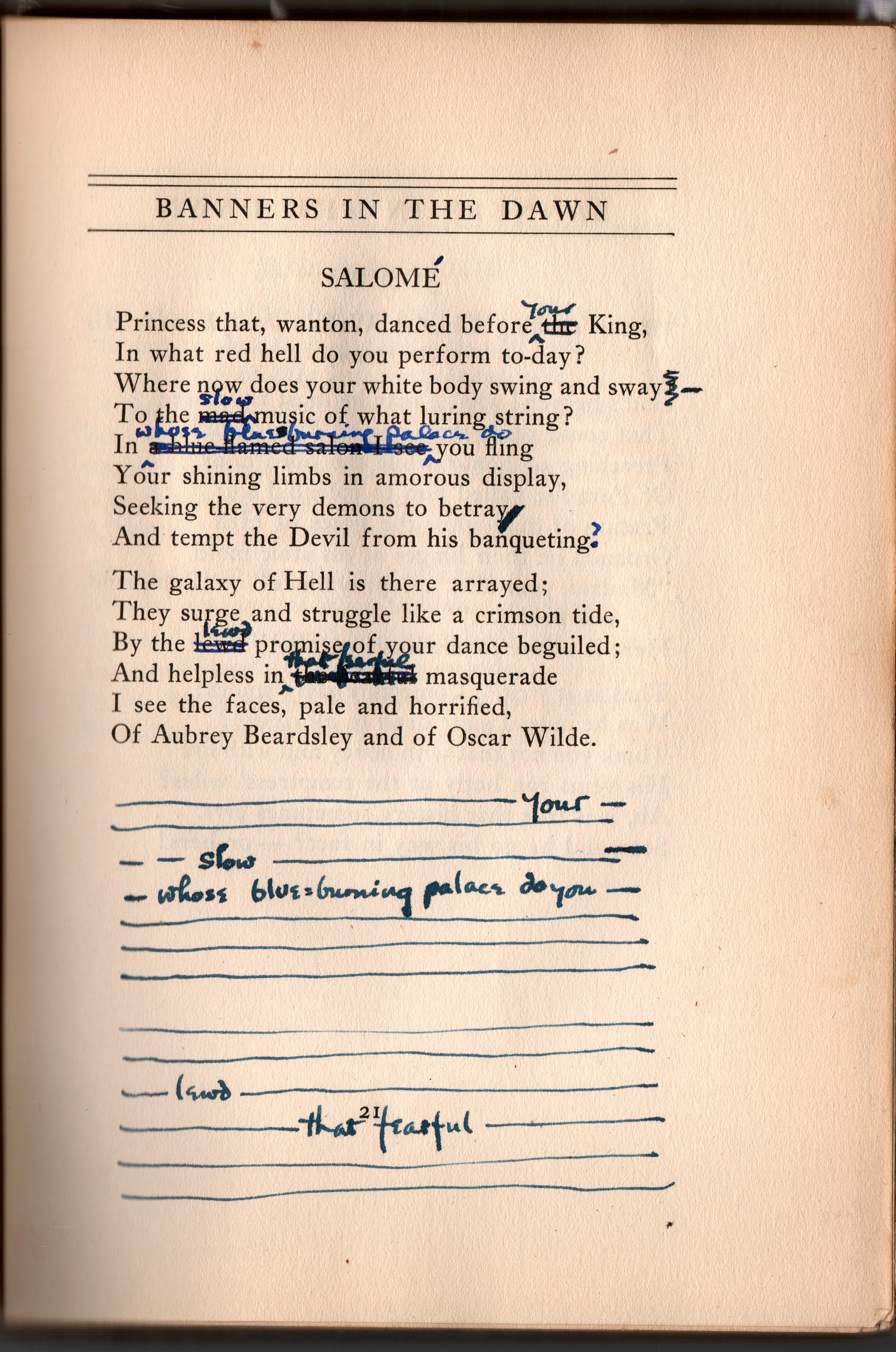 """The annotated version of """"Salomé"""" that is in Fridolf Johnson's copy of Starrett's 1923 book of poetry,  Banners in the Dawn."""