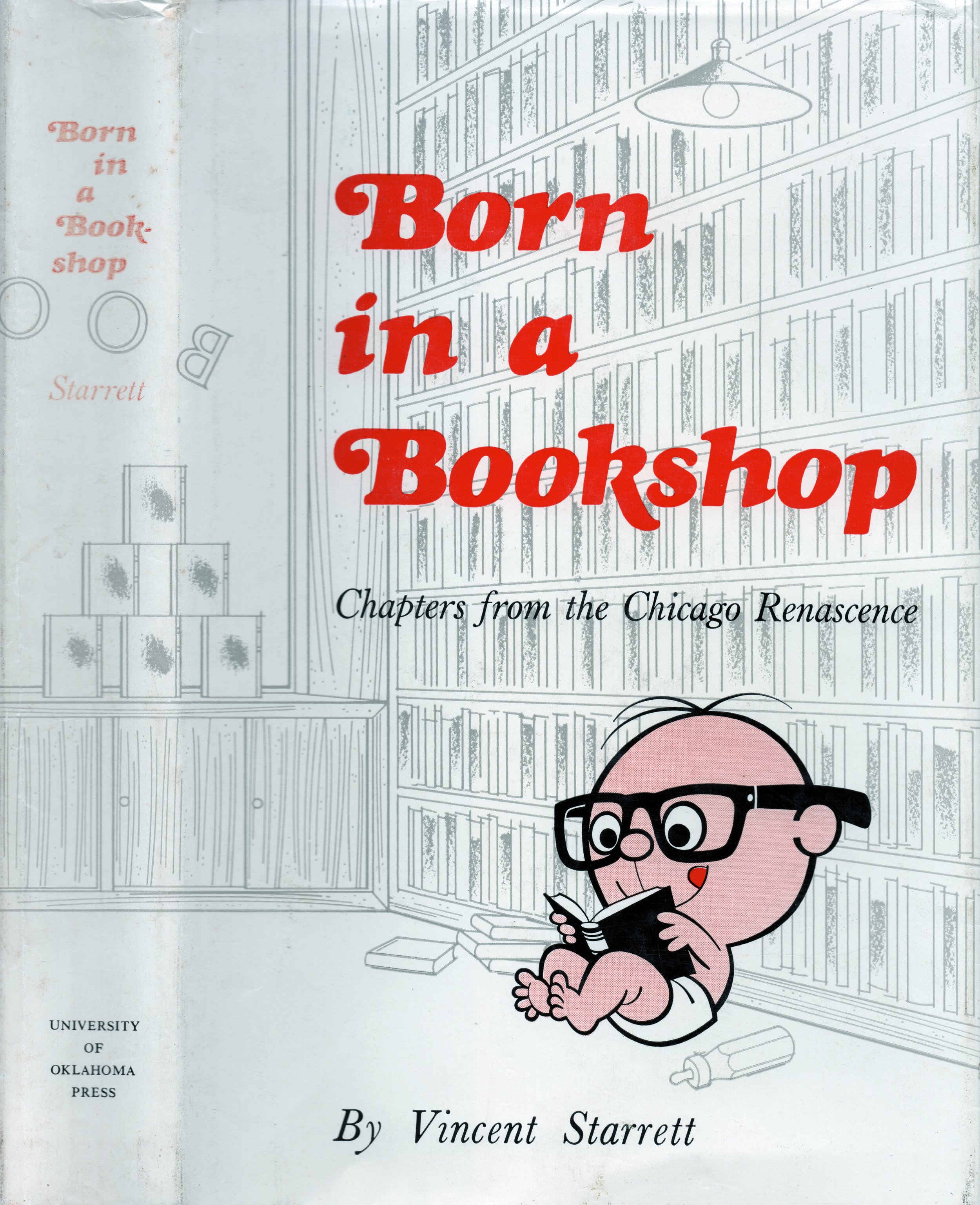 """The dust jacket to Starrett's memoirs, featuring the delightful """"baby Vincent"""" cartoon."""