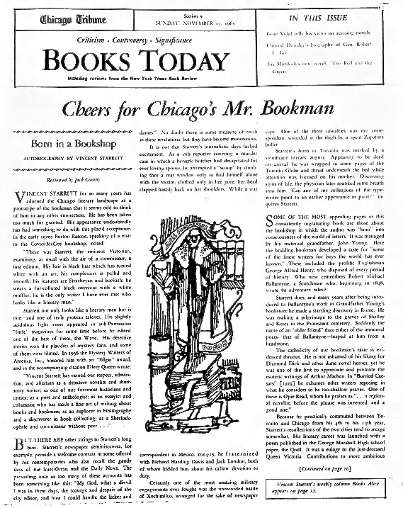 Starrett's autobiography received the star treatment from his paper.