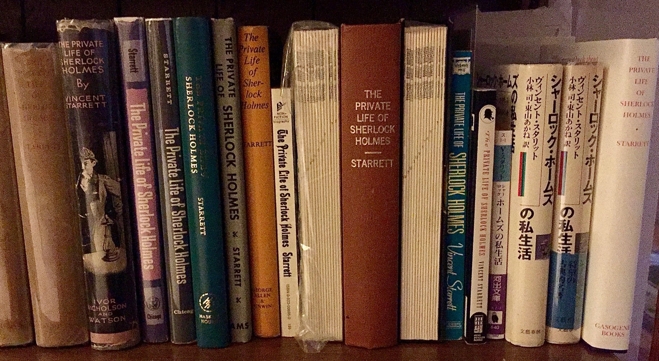 A shelf of Sherlock: The publication history of  The Private Life of Sherlock Holmes  on one shelf.