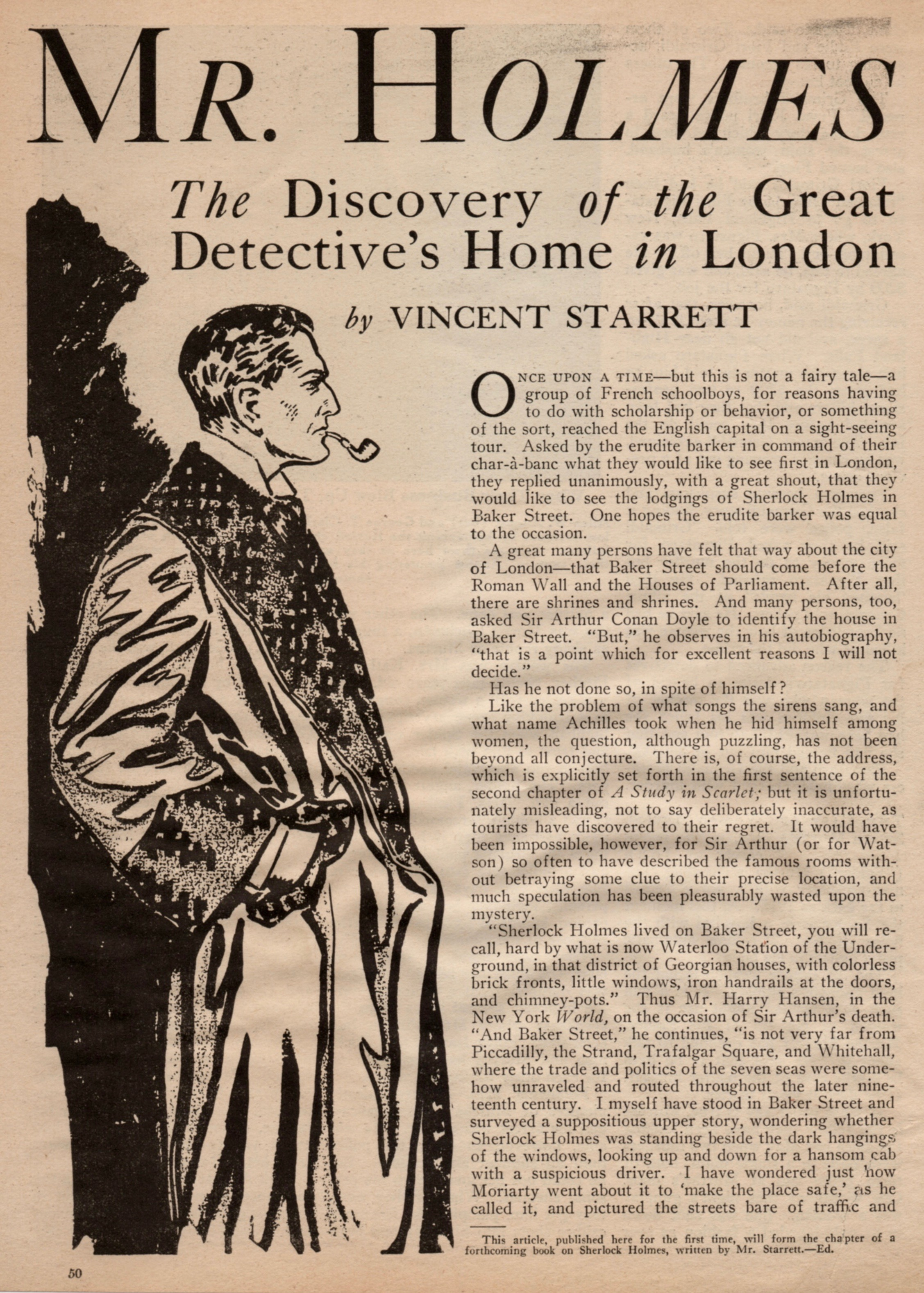 """The opening spread to """"Mr. Holmes of Baker Street"""" from  Real Detective  magazine for December, 1932."""