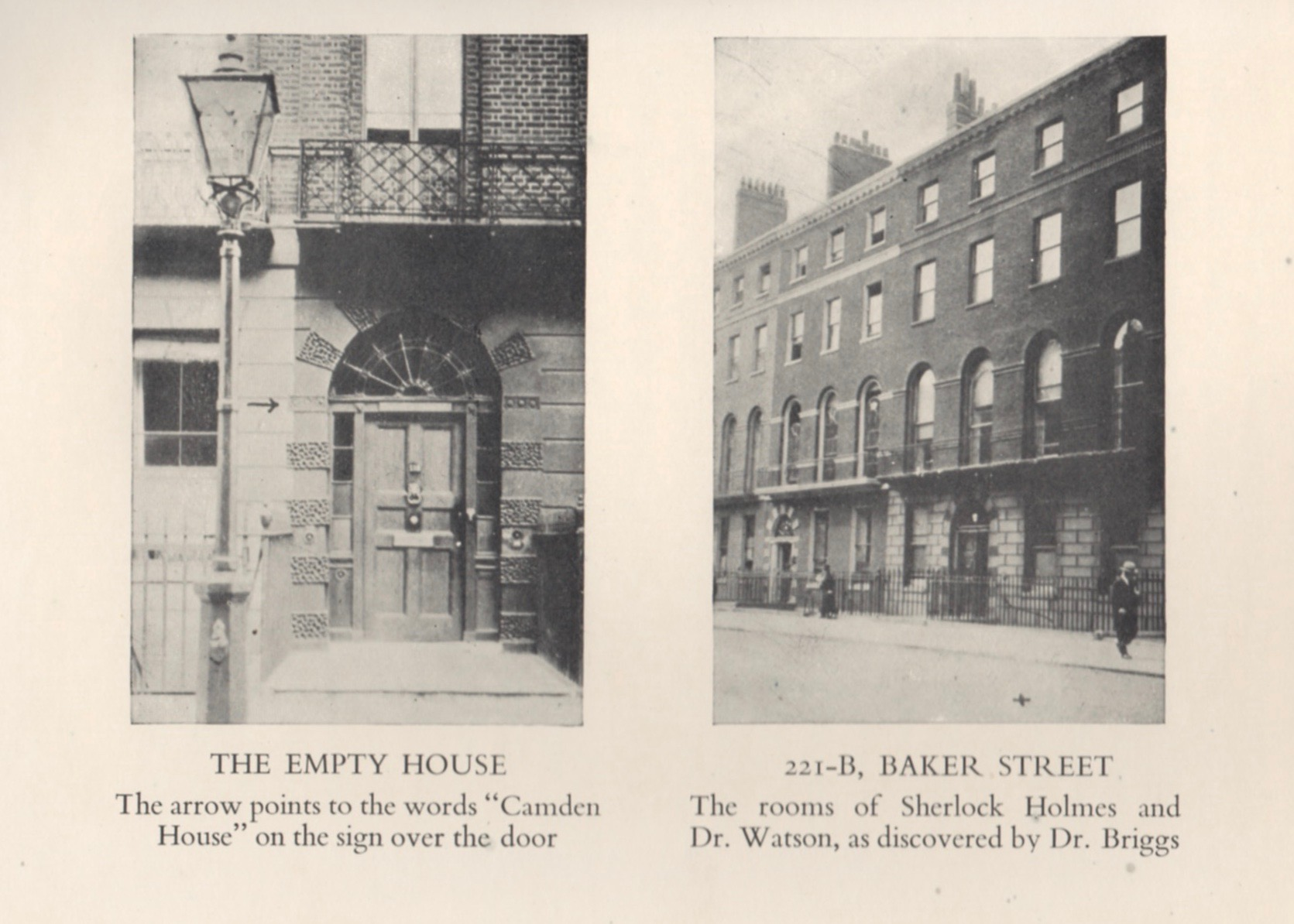 """Dr. Gray Chandler Briggs of St. Louis took these photos in the early 1930s while researching the """"true"""" location of 221B on Baker Street. The same photos are used in both the American and British editions."""
