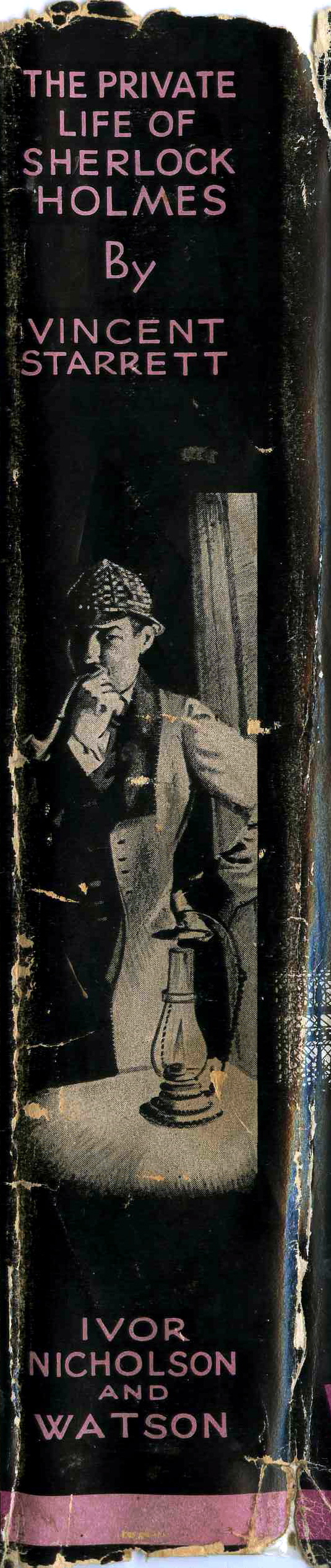 """The dust jacket spine could not avoid the """"detective in deerstalker"""" trope, but I do like the image of Holmes in contemplation."""