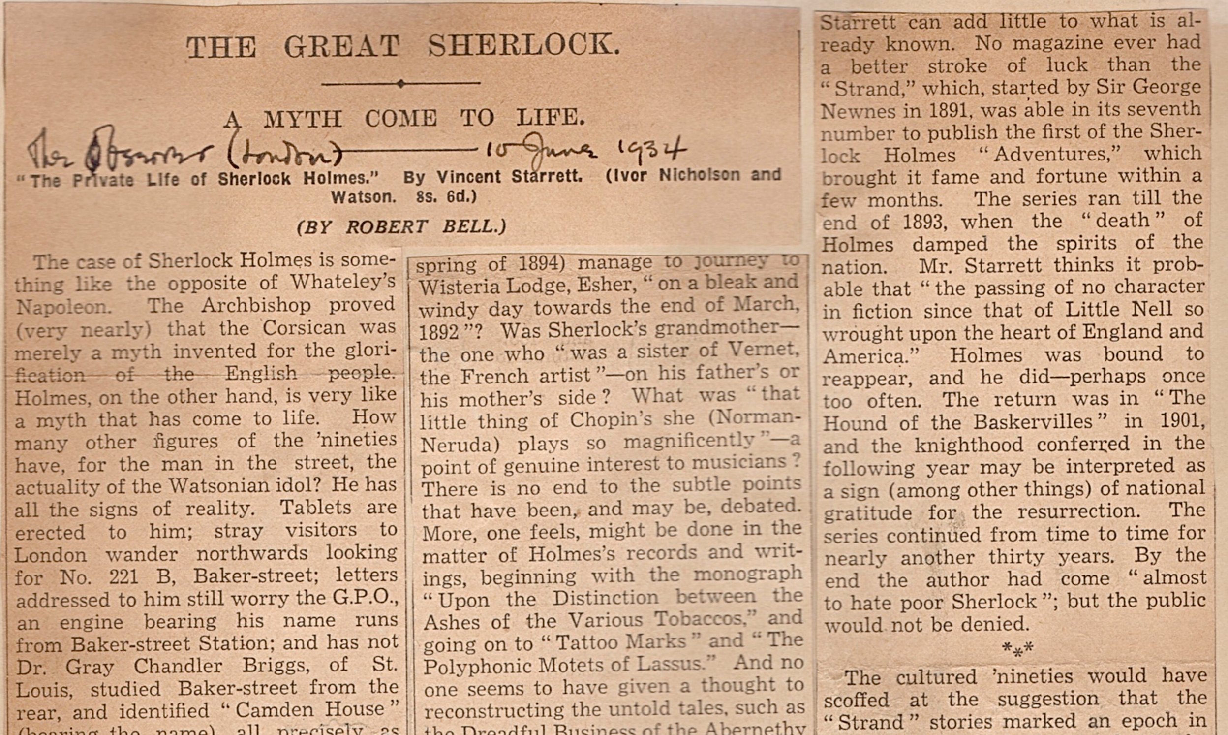 A portion of Robert Bell's extensive review, published in The Observer, one of London's oldest papers. This is one of several British clippings Starrett pasted into his personal scrapbook. The writing on the clipping is Starrett's.