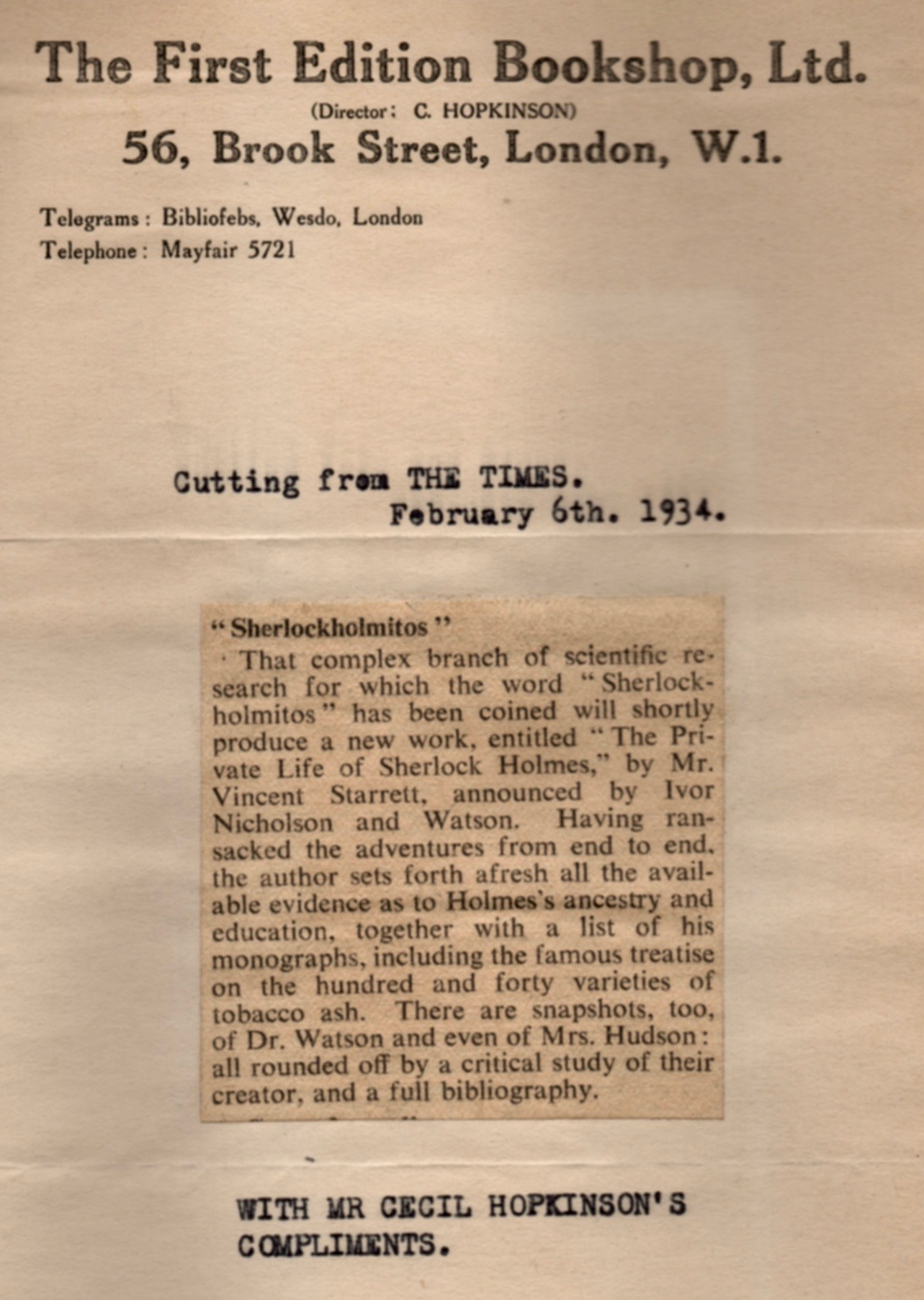 Starrett received a clipping of this brief news item from bookshop owner Cecil Hopkinson. I'm guessing Starrett purchased books from Mr. Hopkinson in the past.