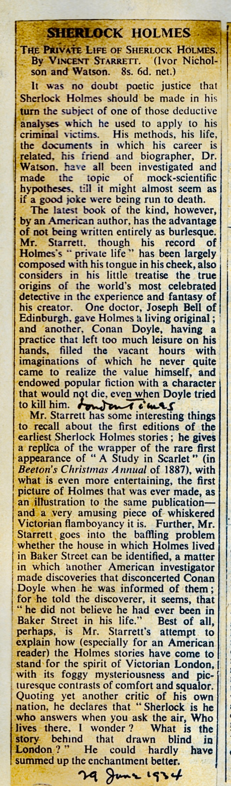 The full review from The Times of London, from Starrett's scrapbook.