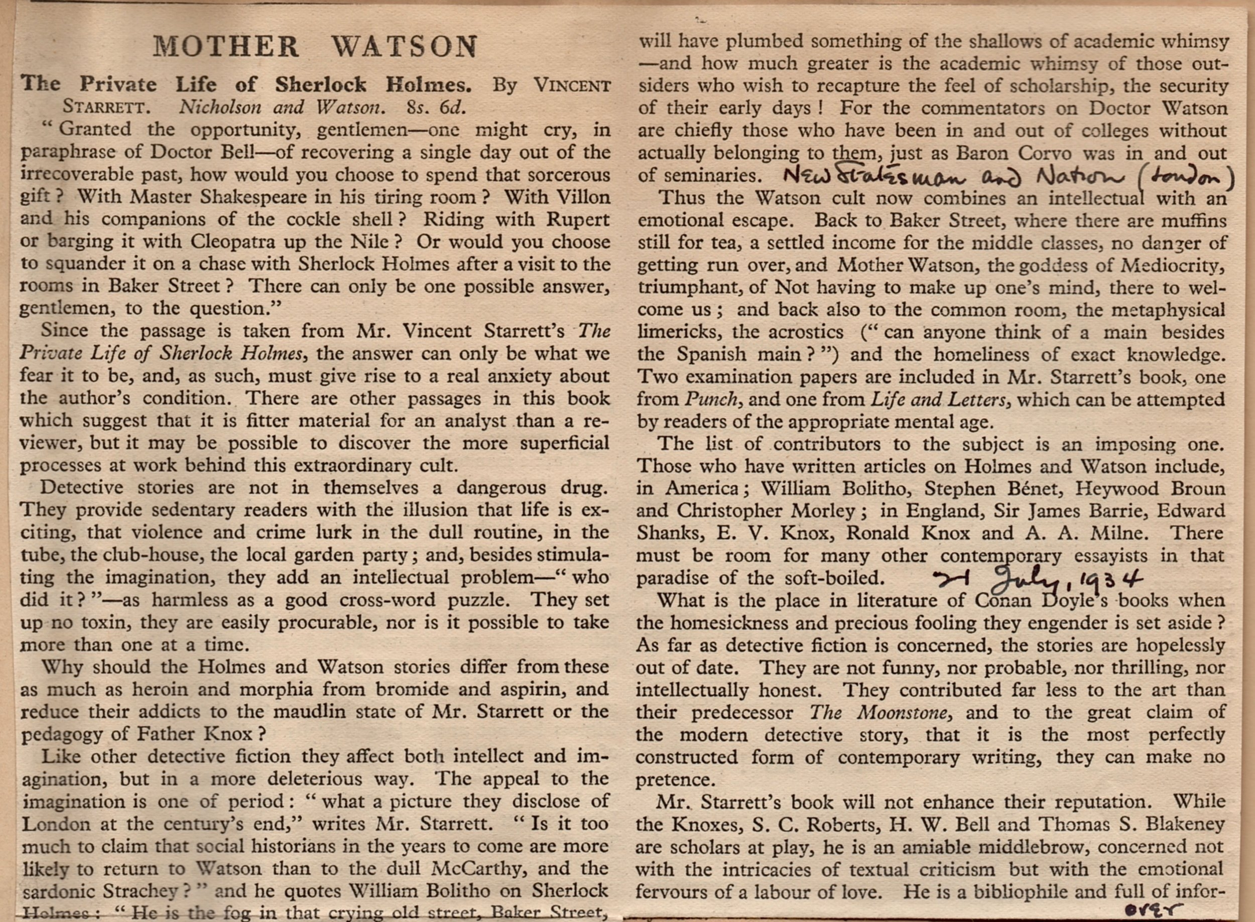 A portion of Cyril Connolly's caustic review from  The New Statesman and Nation  of July 21, 1934.