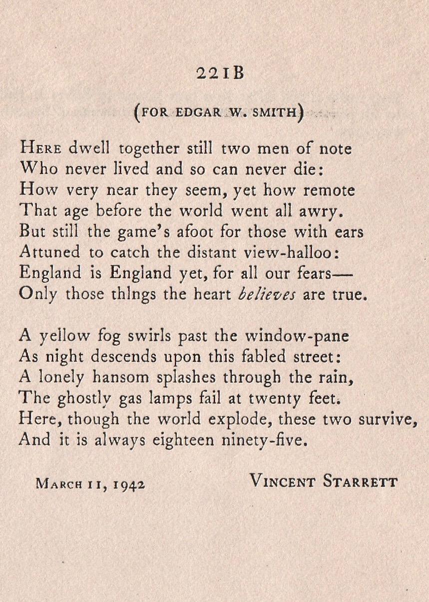 """The first book printing of Starrett's immortal poem """"221B."""""""
