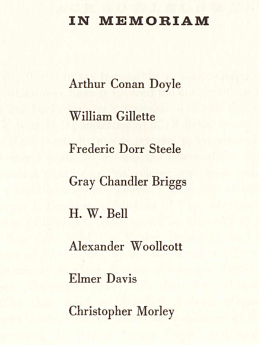 "The 1933 edition had carried a dedication page, ""To William Gillette, Frederic Dorr Stelle, and Gray Chandler Briggs, in gratitude."" Now all three of those men, plus several others, had passed away."
