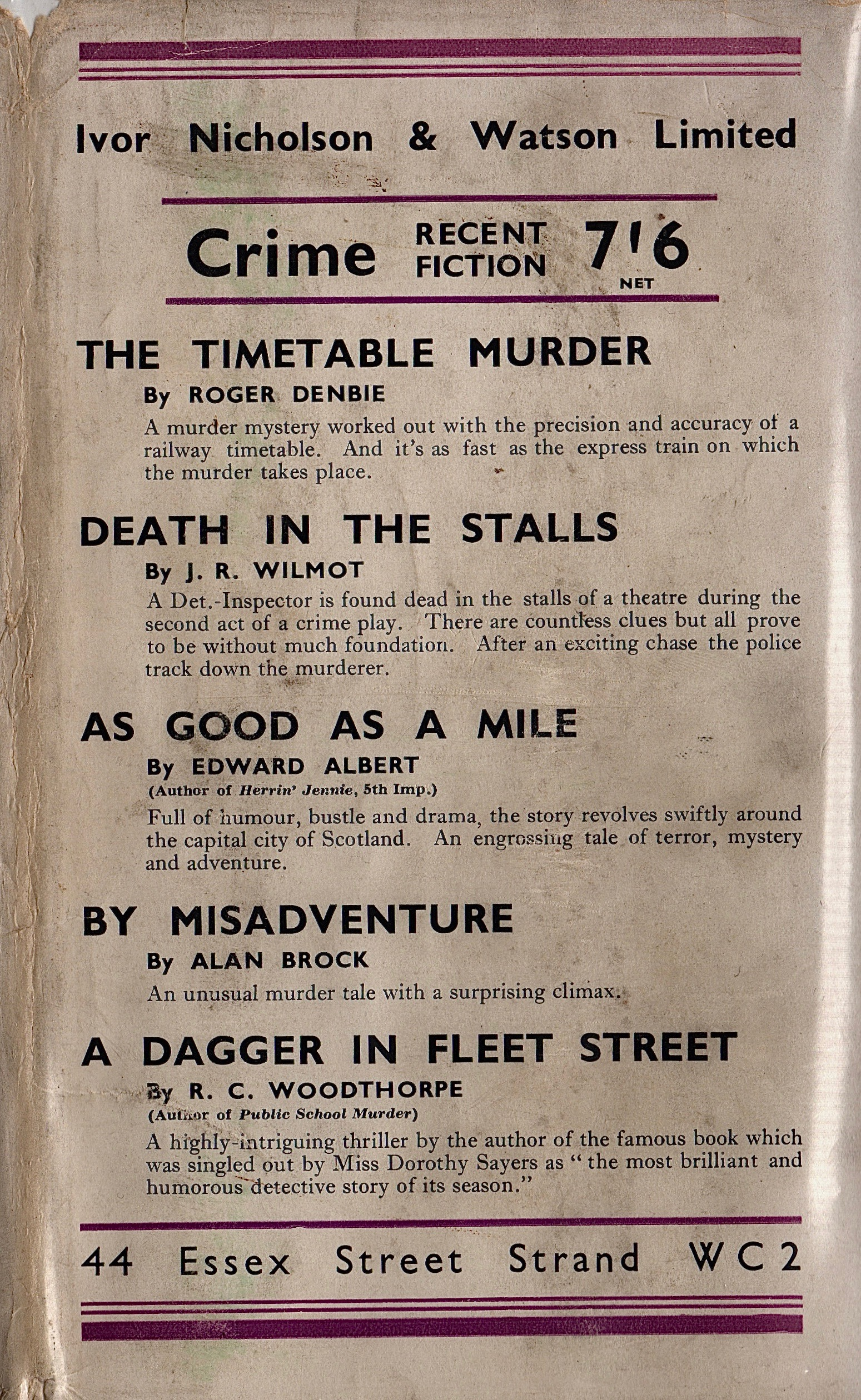 In the United States, Macmillan published  Private Life  as part of its biography line of books. Ivor Nicholson and Watson saw things differently, and classified Starrett's book in with its crime fiction.