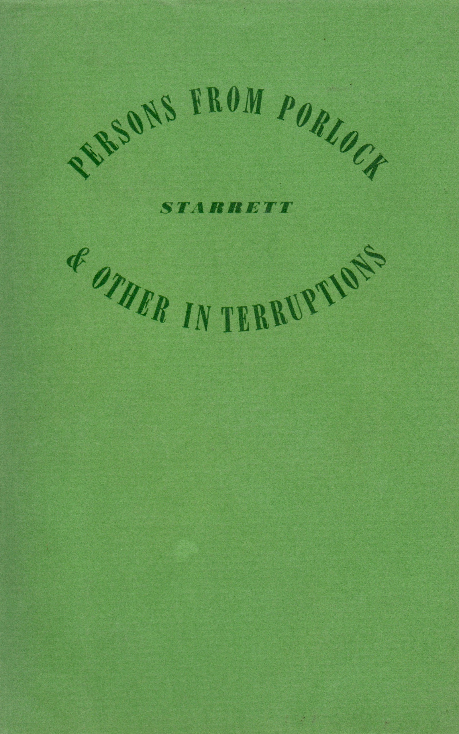 """A chapter in this 1938 book of Starrett's essays included """"Sherlock and After,"""" a rumination on the future of the detective story."""