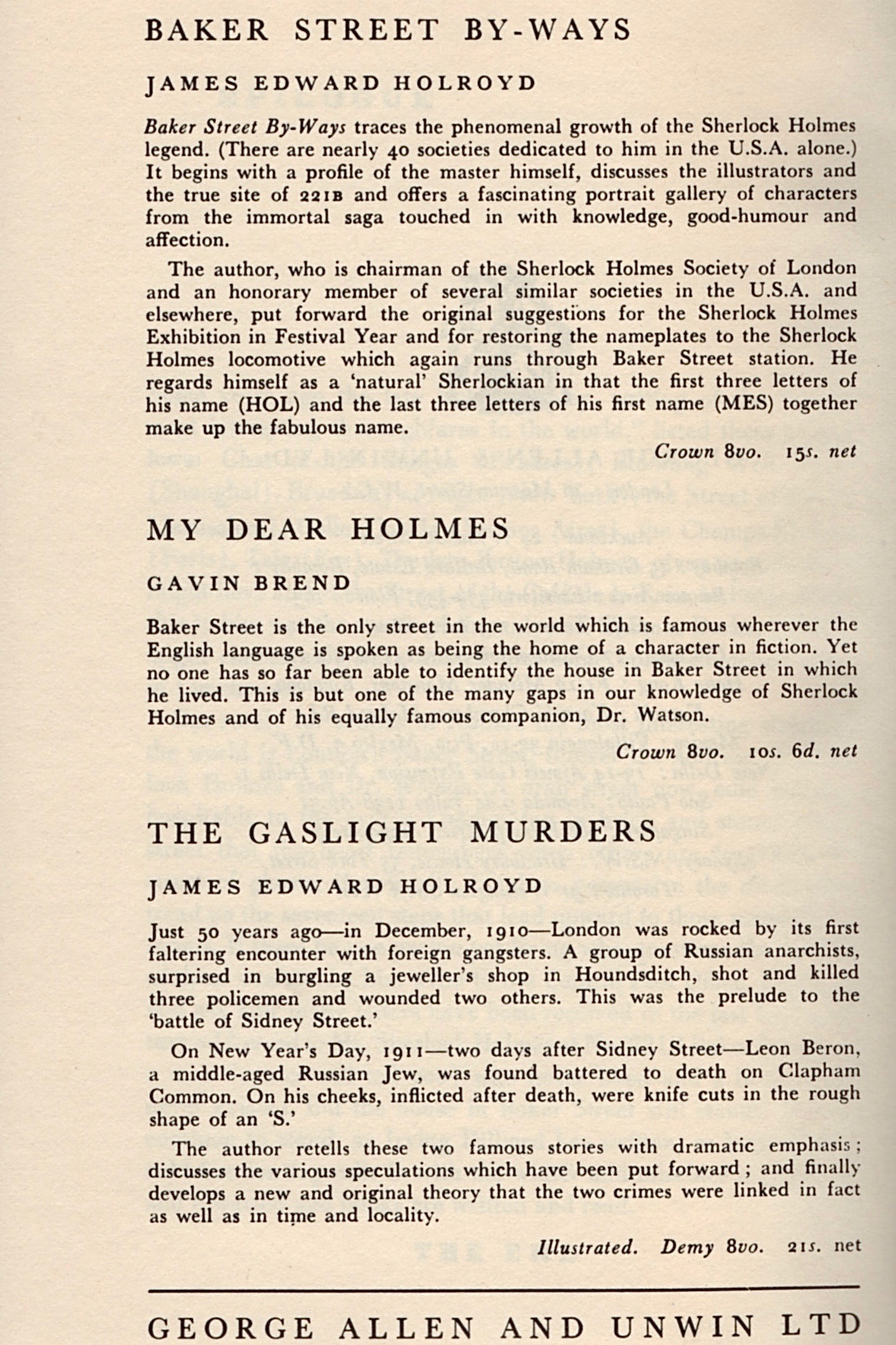 Allen and Unwin added a page of ads for their other books at the end of Starrett's text.