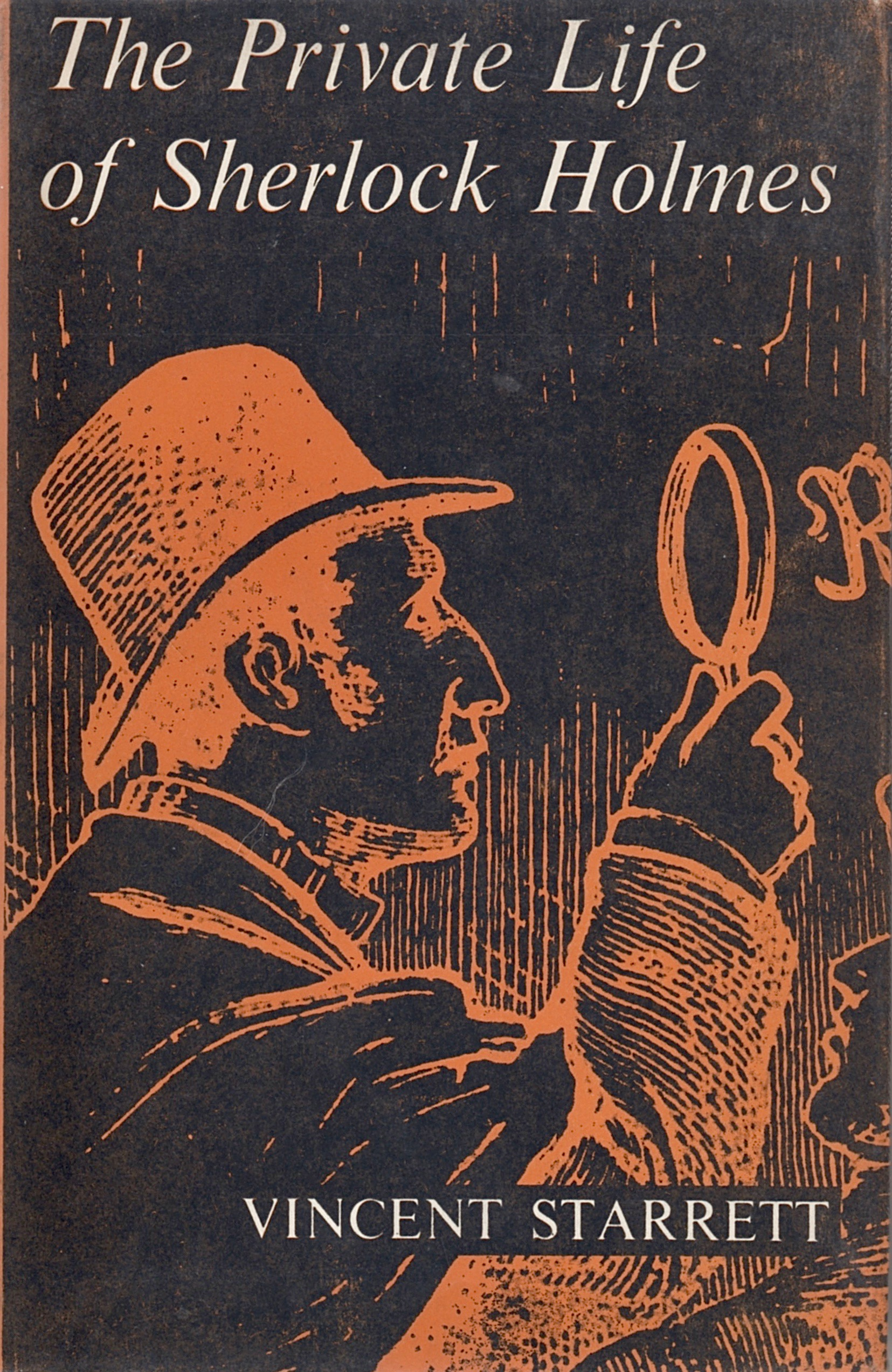 The dust jacket for  The Private Life of Sherlock Holmes  1961 British edition. The horror of the X-ray effect is ameliorated just a bit by the use of orange. Lots and lots of Kool-Aid orange.